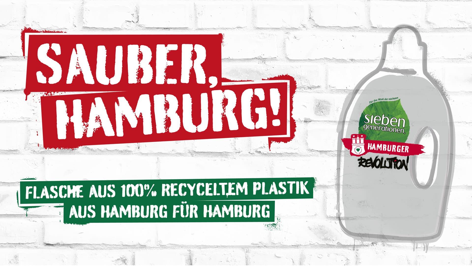 Key Visual der Waschmittelflasche aus 100% Hamburger Rezyklat