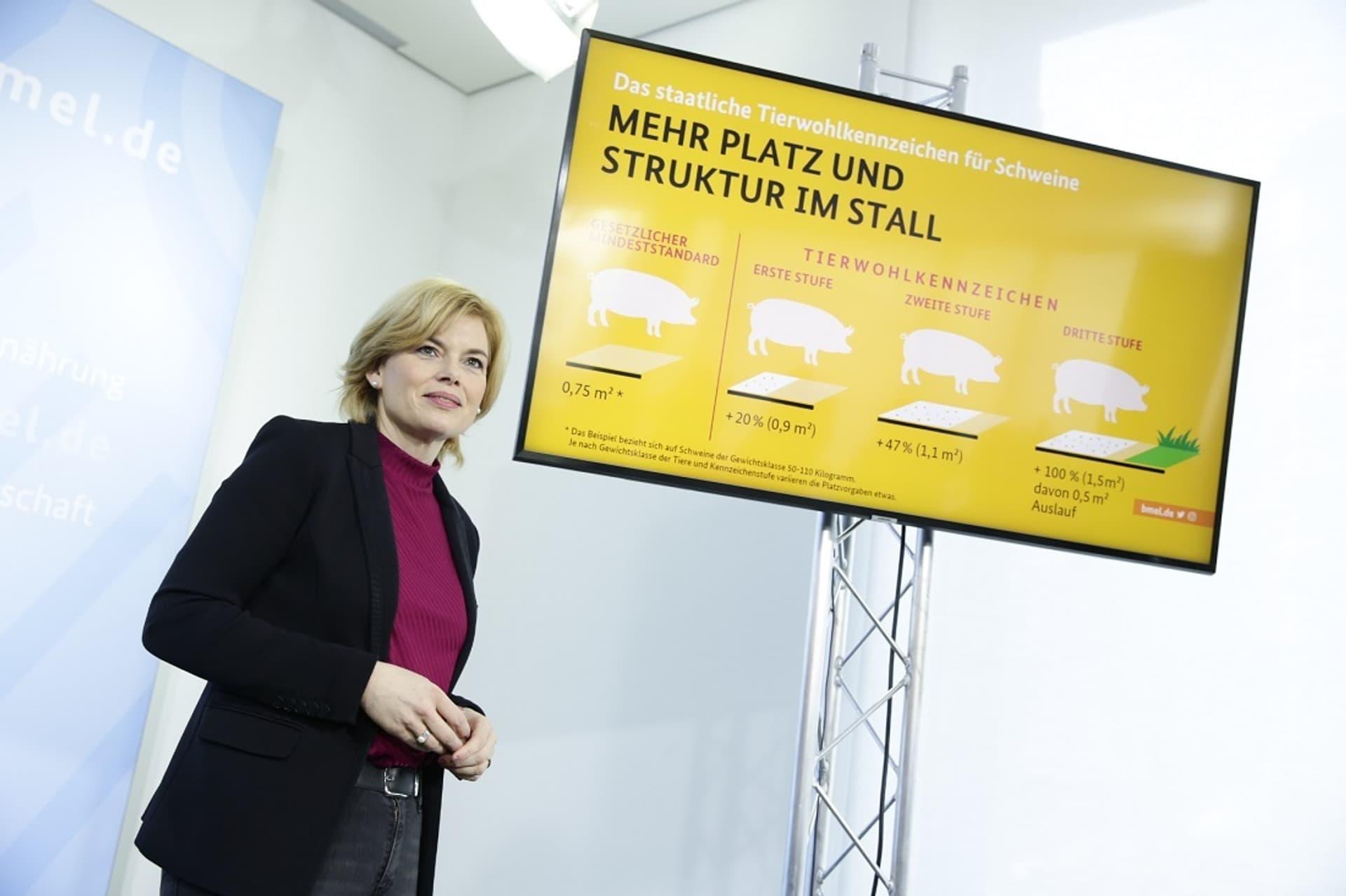Ministerin Klöckner bei der Präsentation des Tierwohl-Labels. Verbraucher gucken lieber auf den Preis