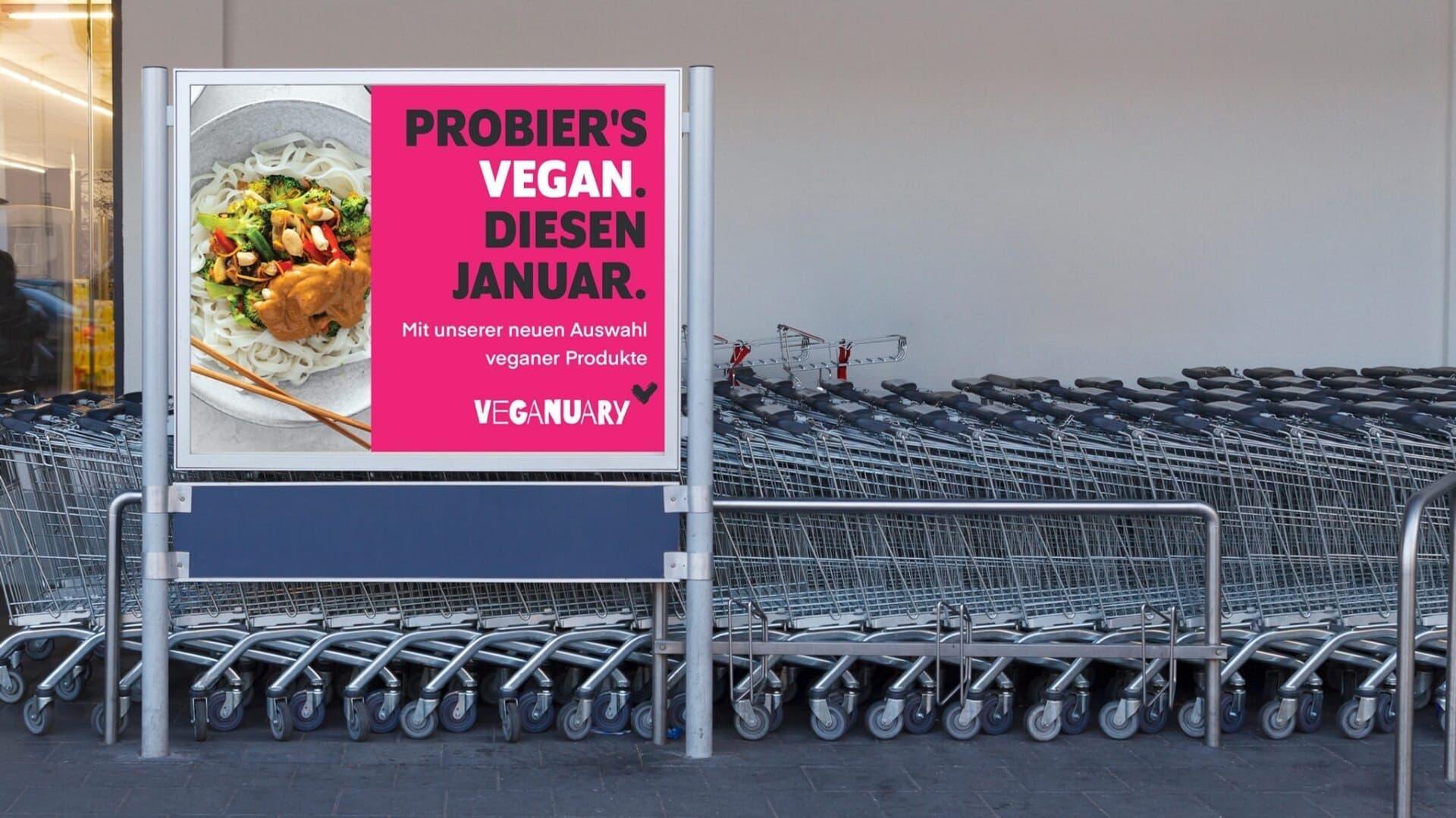 Werbeschild für Veganuary-Kampagne