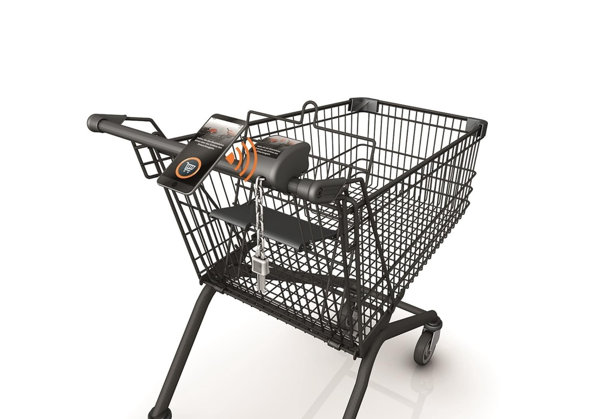 Entriegelung mit dem Handy: Digitalisierter Einkaufswagen