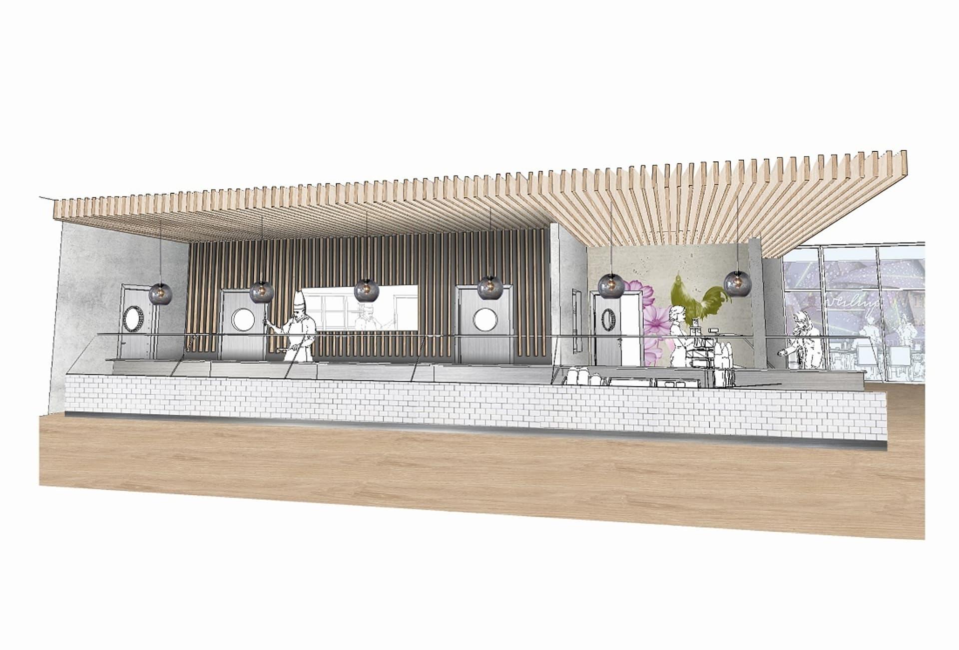 Das neue Mitarbeiterbistro am Standort Lonsee im Entwurf. Rechts Teile des neuen Lichthofs für Kunden