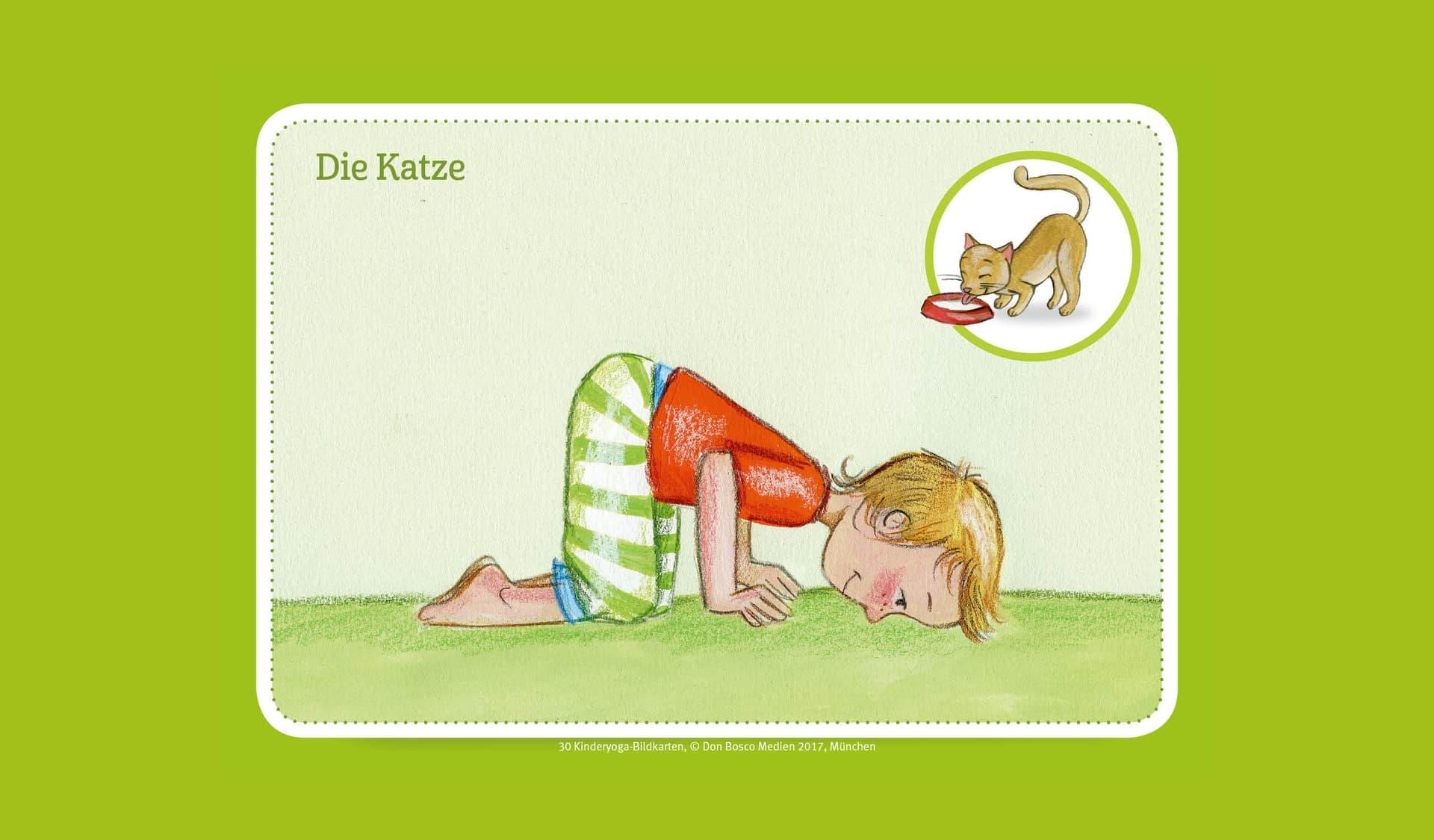 Ein Kind macht eine Yoga-Übung im Knien.