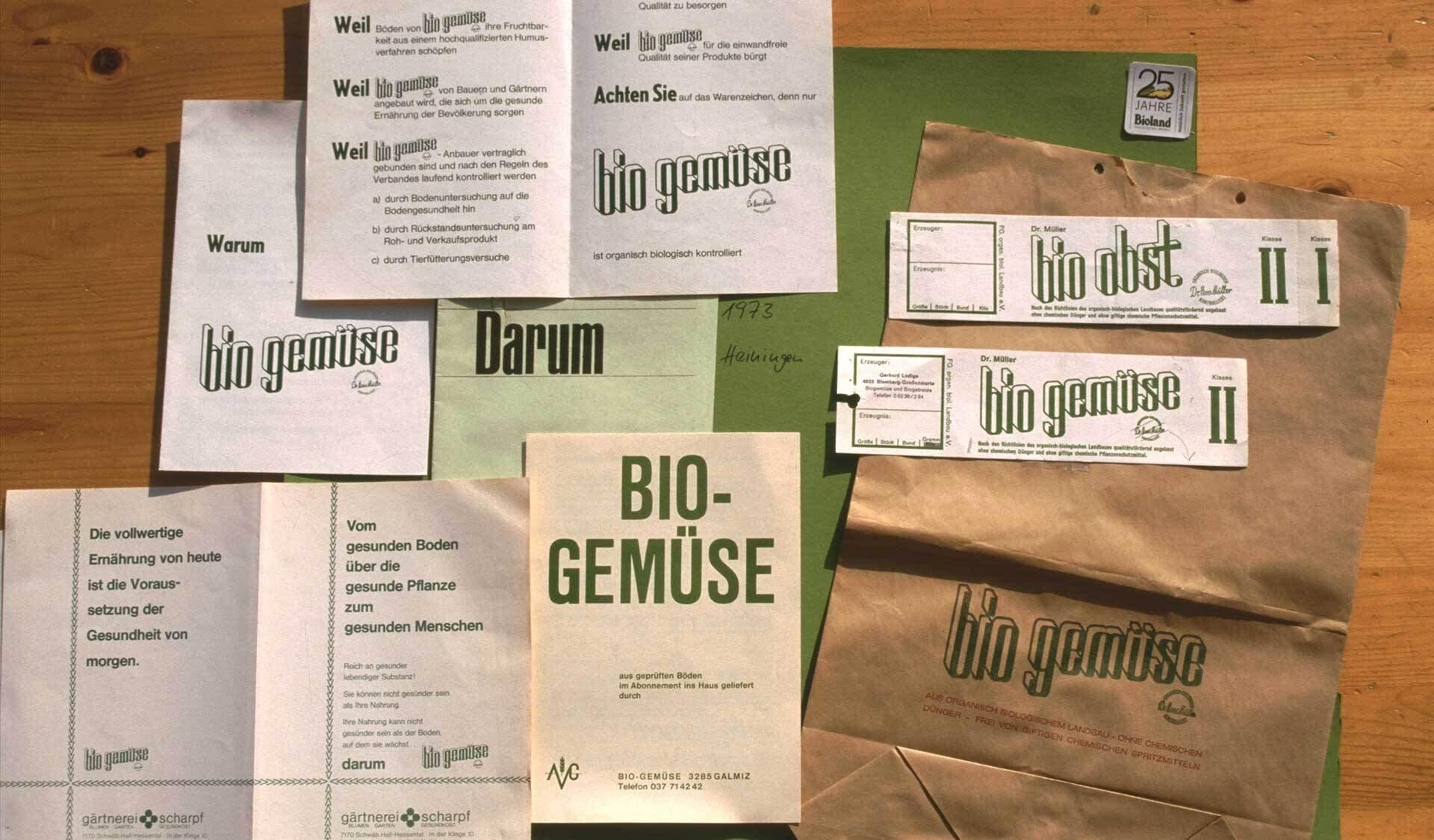 Historische Broschueren des Bio Gemuese e V
