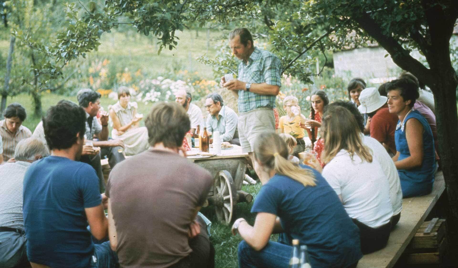 Gruppentreffen von Bioland Mitgliedern 80er Jahre