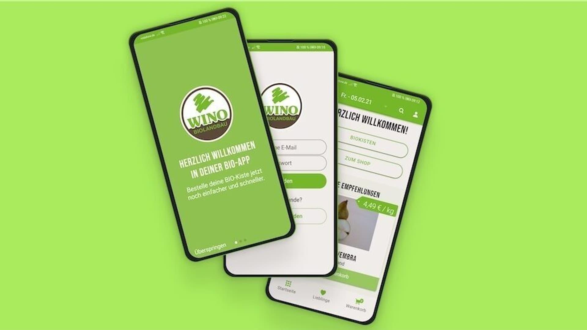 Smartphones, die die Wino App zeigen