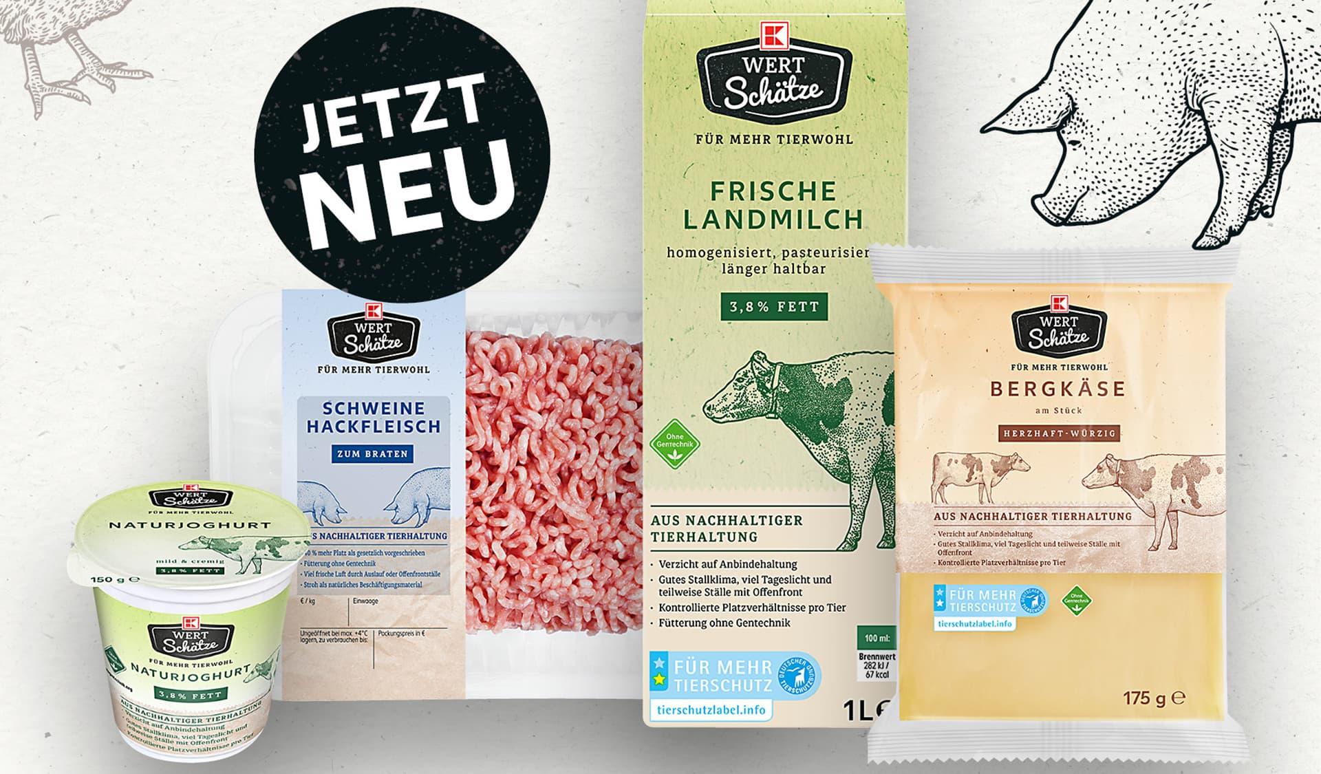 Joghurt, Hackfleisch, Milch, Kaese der Marke K-Wertschätze