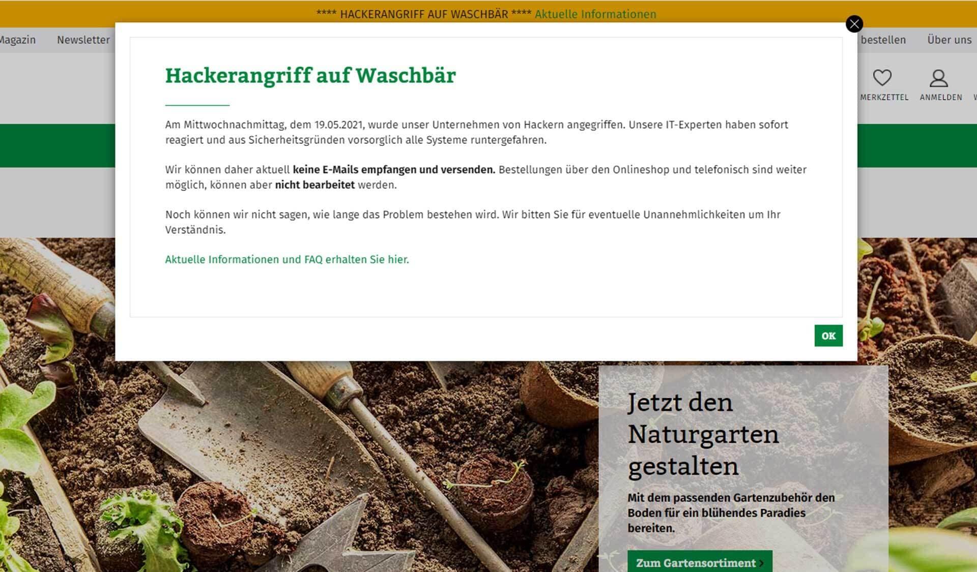 Screenshot von der Homepage von Waschbär