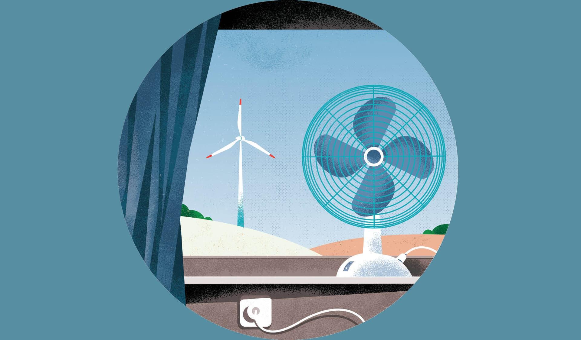 Illustration mit Blick aus dem Fenster an einem Ventilator vorbei auf ein Windrad.