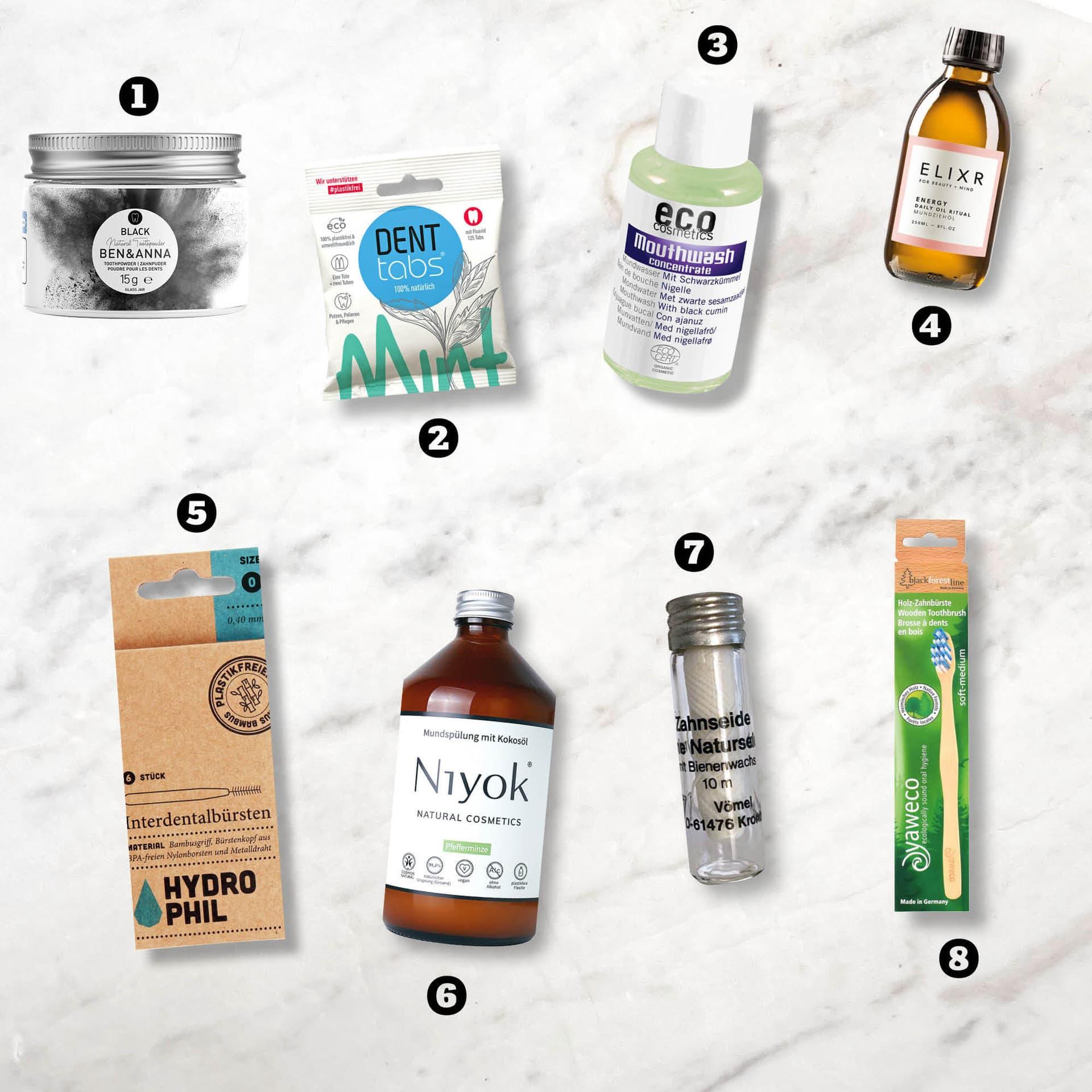 Nachhaltige Produkte zur Mundhygiene, von der Bambuszahnbürste über Zahnputzpulver bis zur Zahnseide im Glas.