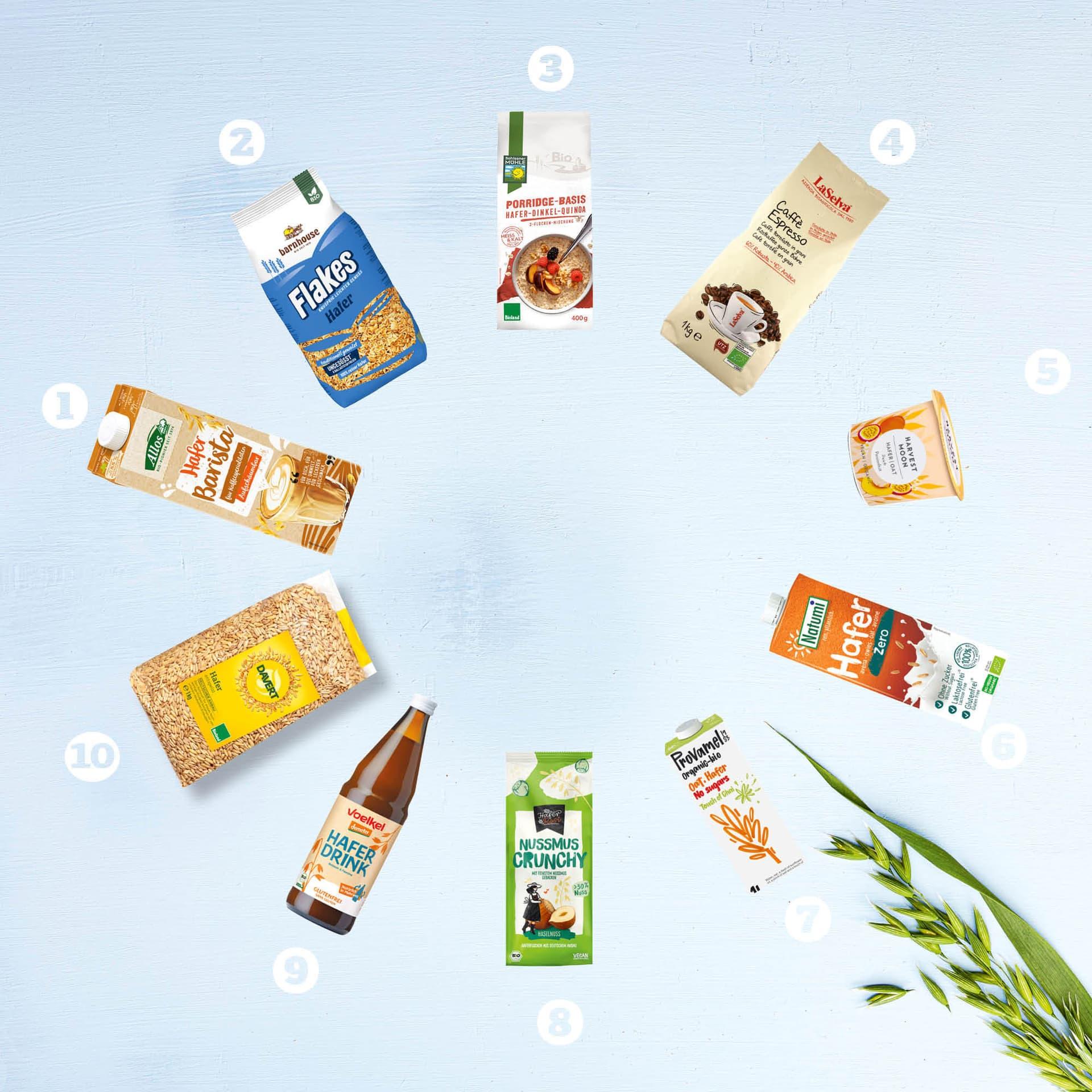 Zehn verschiedene Haferprodukte aus dem Bio-Laden