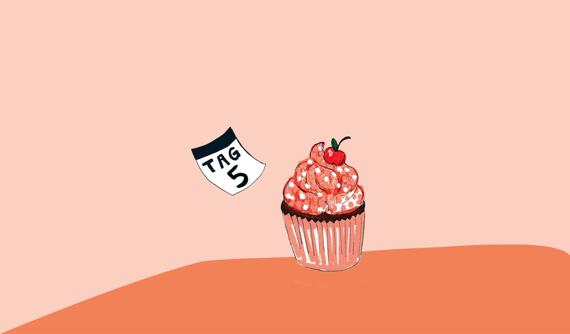 Illustration: Muffintörtchen mit Kirsche