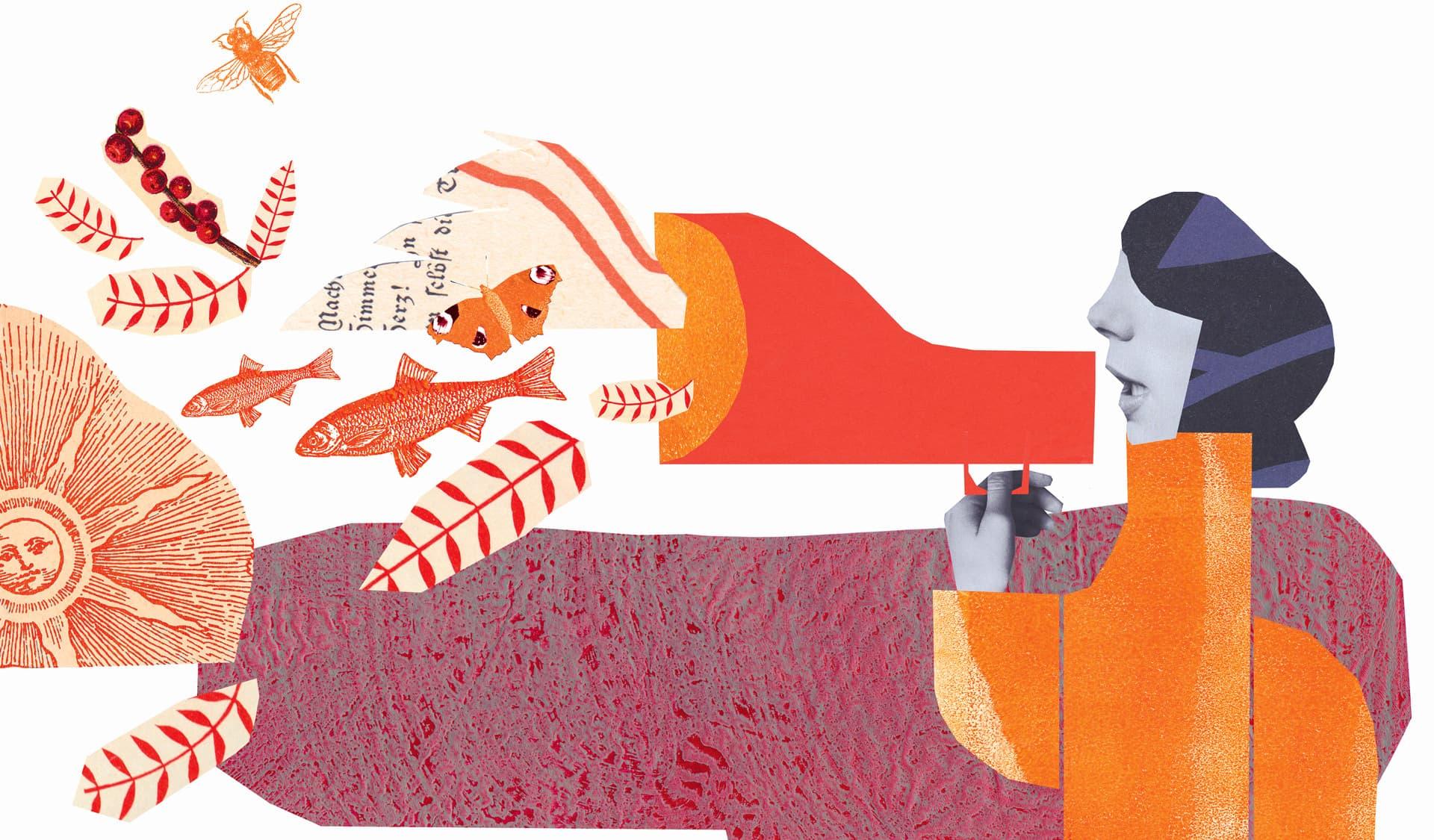 Illustrierte Frau mit Megaphon