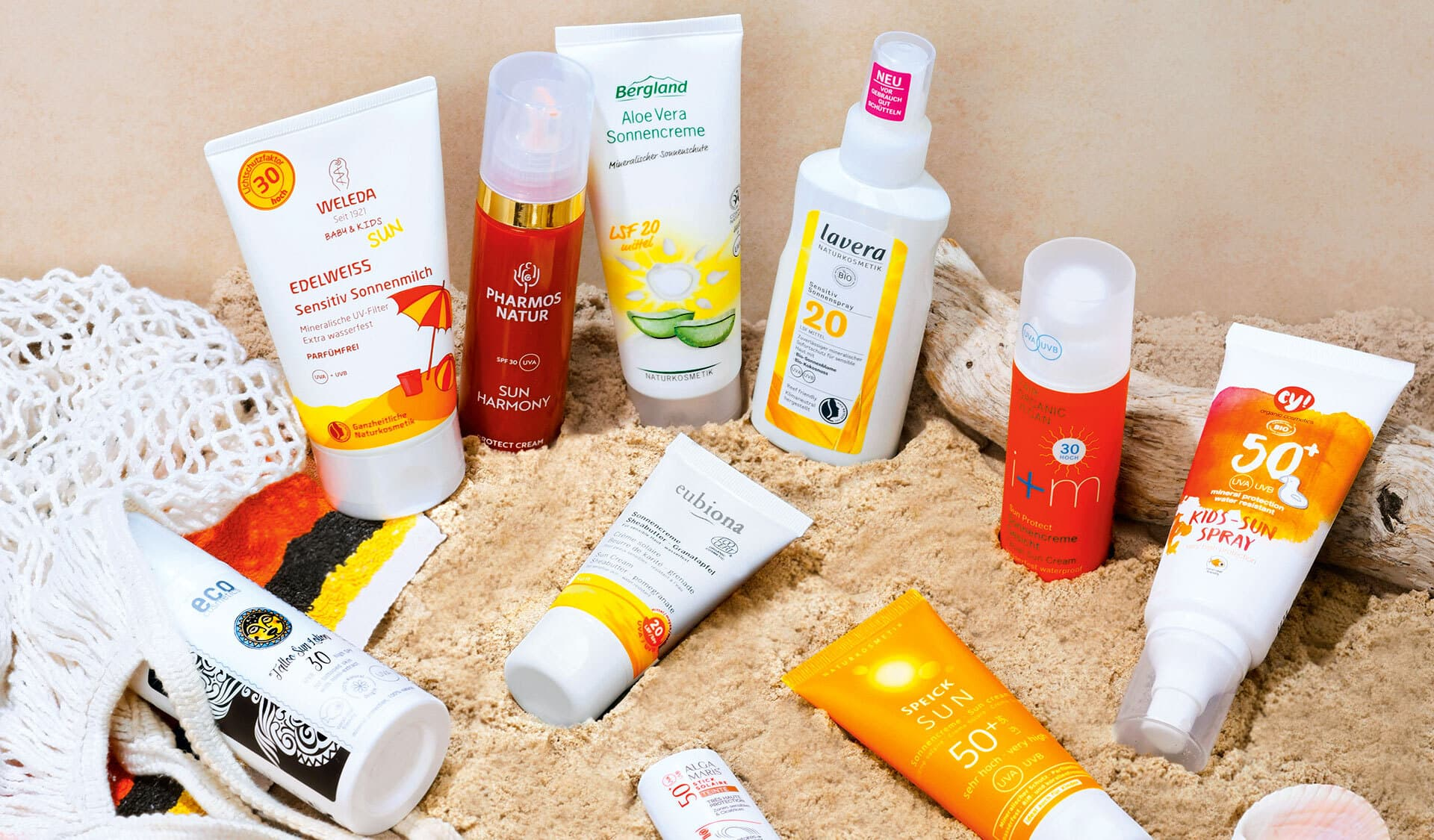 10 unterschiedliche natürliche Sonnenschutzmittel