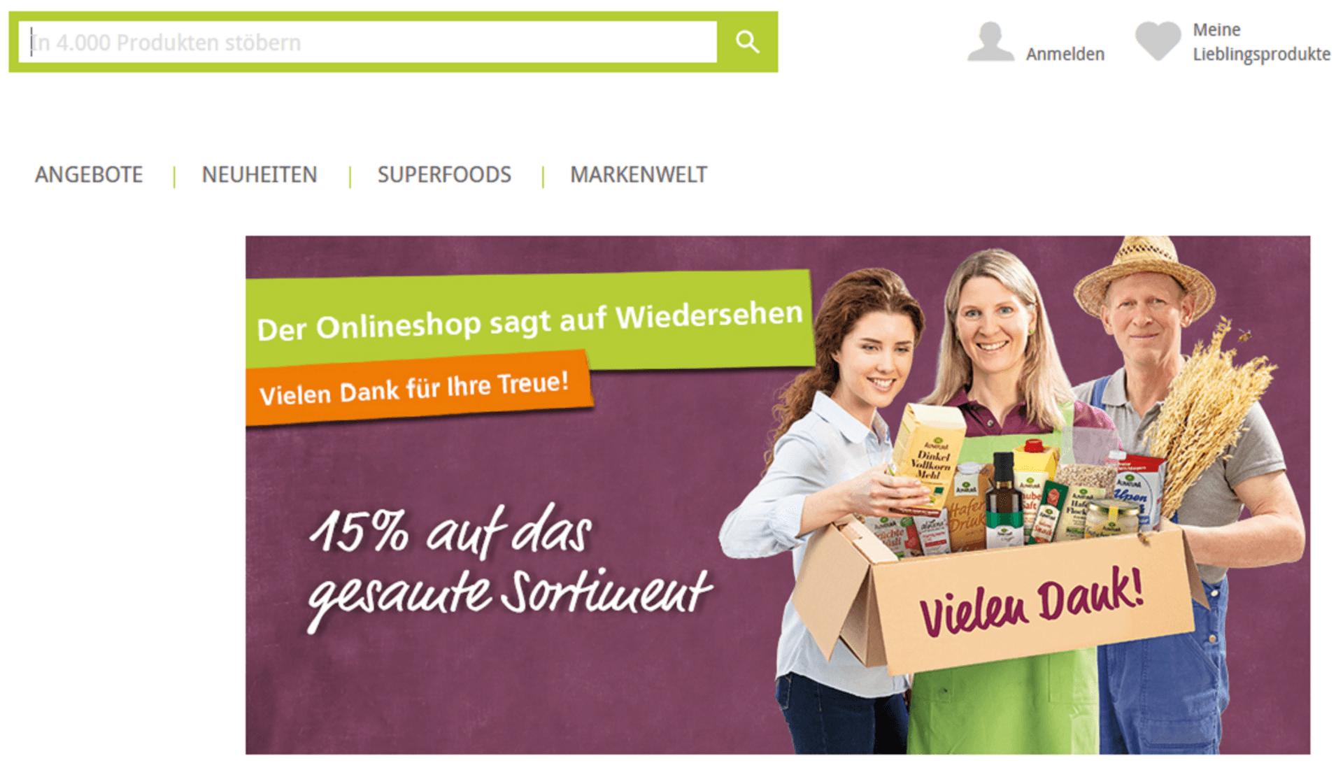 Screenshot Alnatura Online-Shop