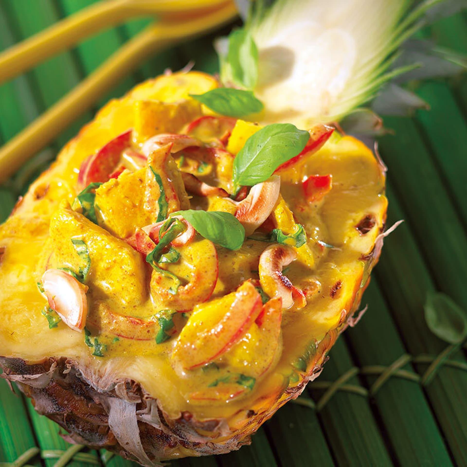 Ananas paprika curry in kokosmilch