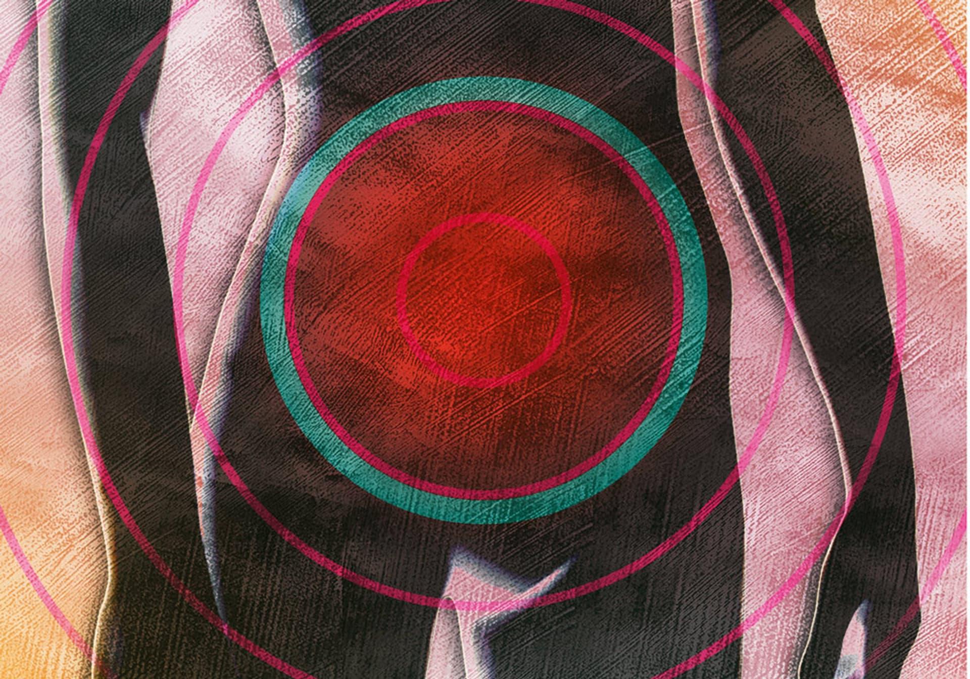 Ein roter Kreis mit vielen Kreisen drum herum