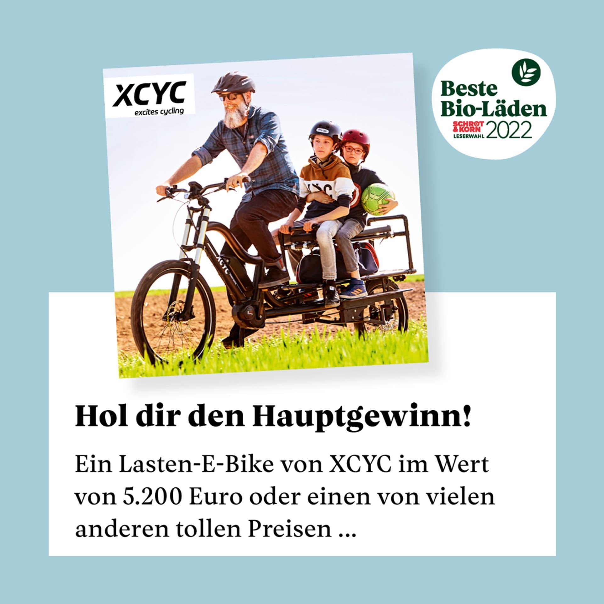 Der Hauptpreis bei Beste Bio-Läden 2022 ist ein Lasen-E-Bike