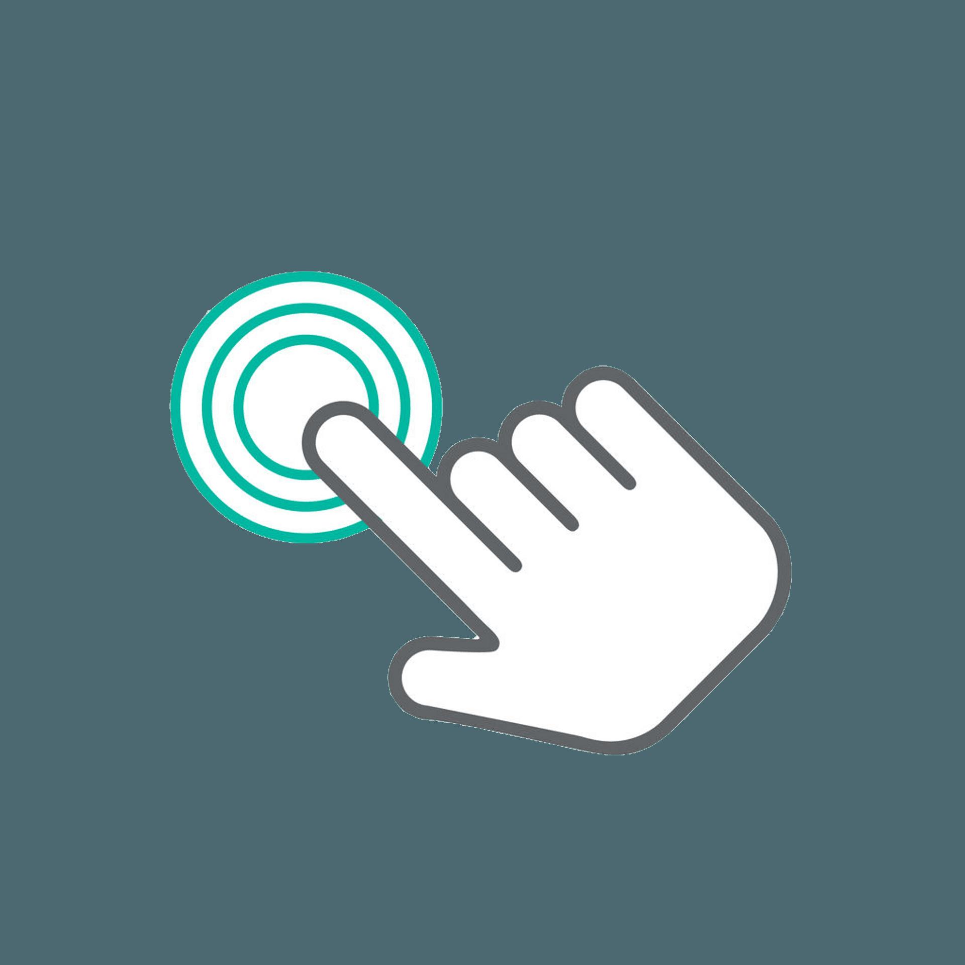 Piktogramm mit Finger und Kreis