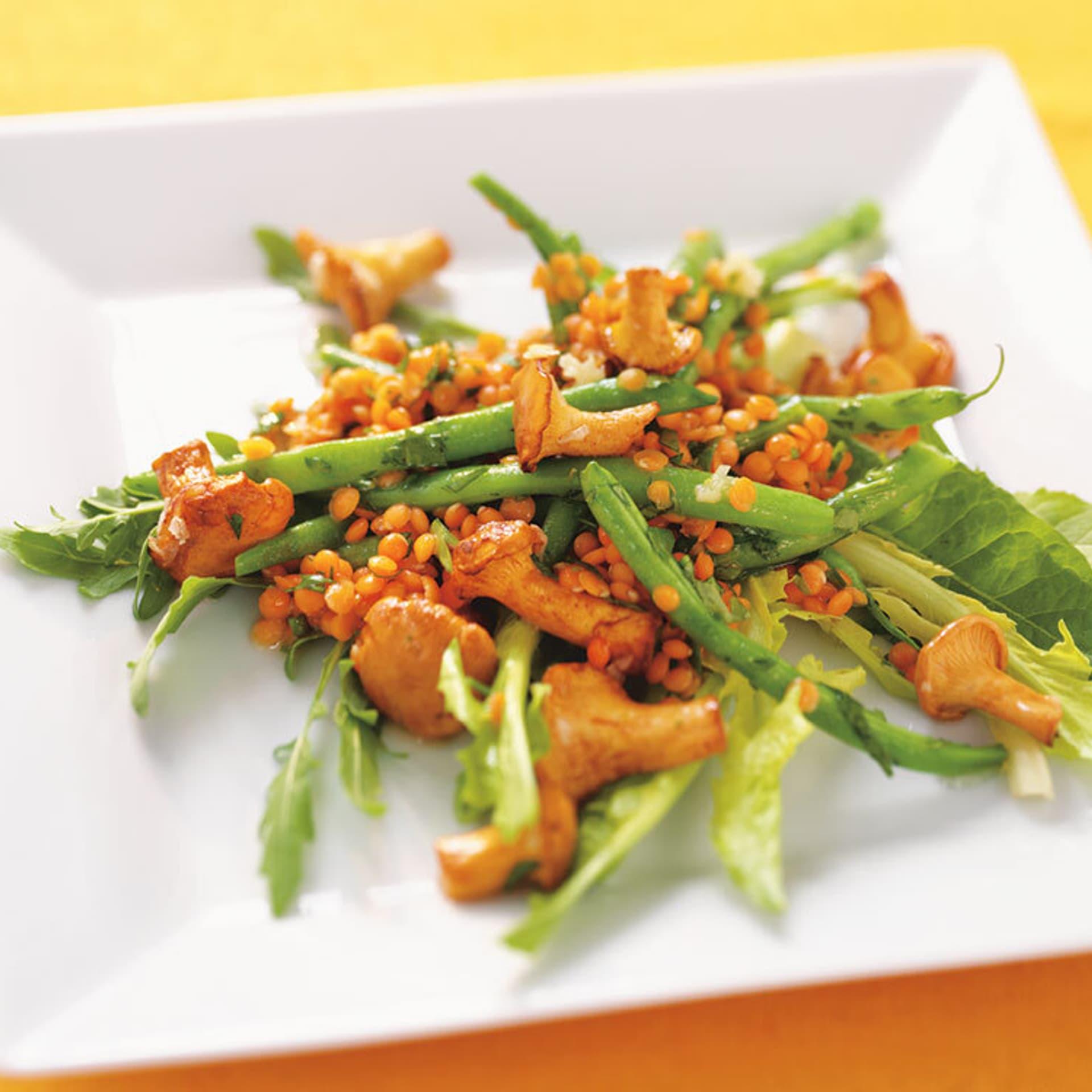 Bohnensalat mit pfifferlingen und linsen