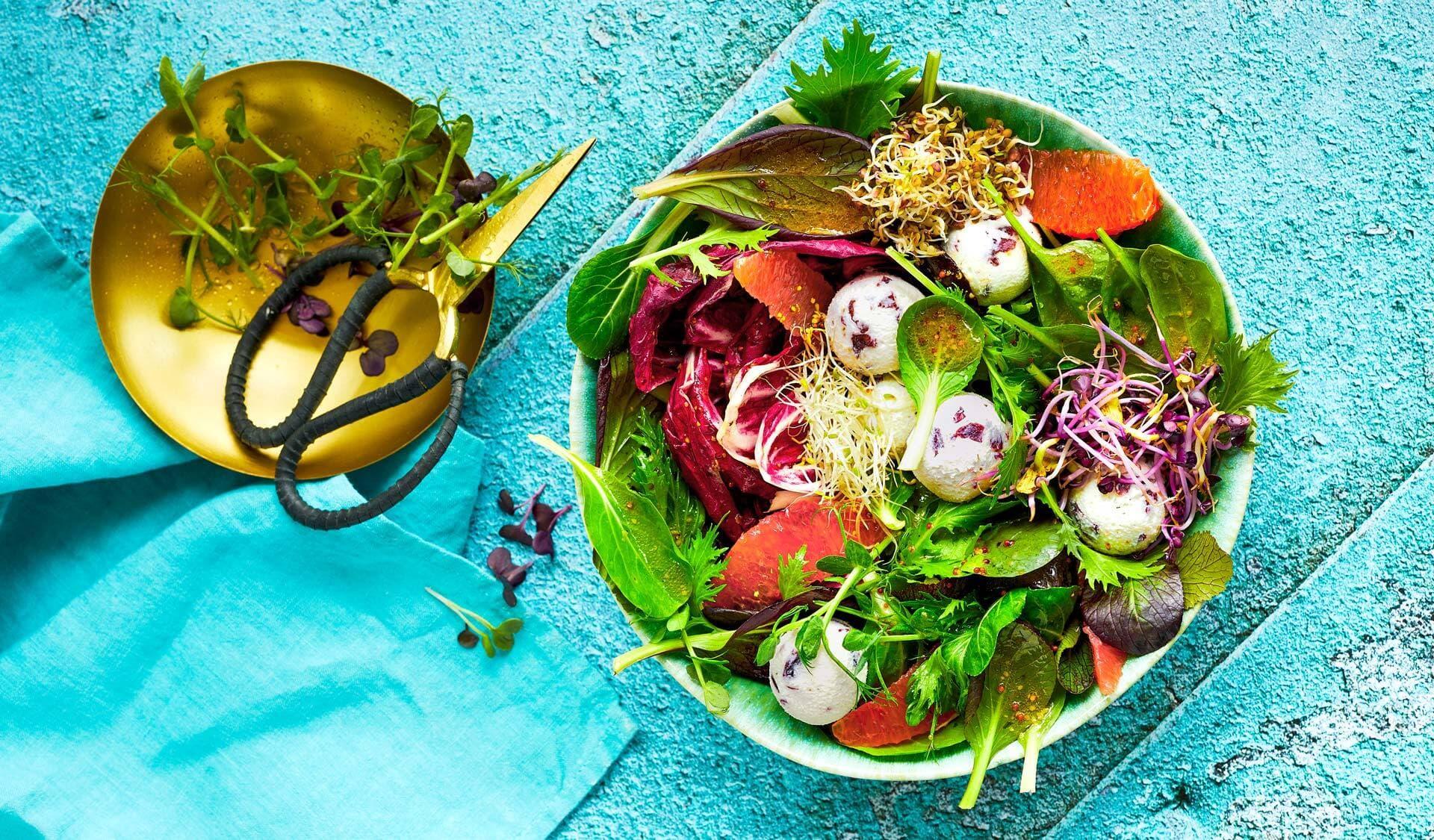 Bunter Salat mit Sprossen und Ziegenkäse