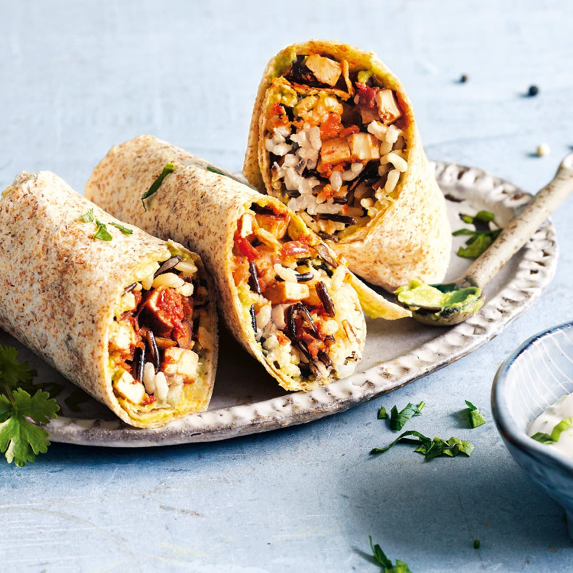 Burritos mit Koriander-Dip