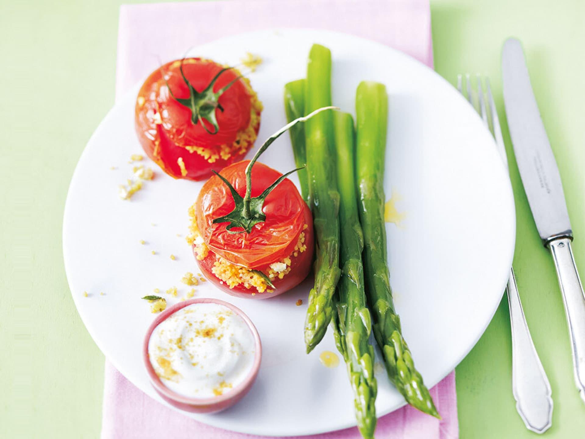Spargel couscous ofen tomaten an spargel