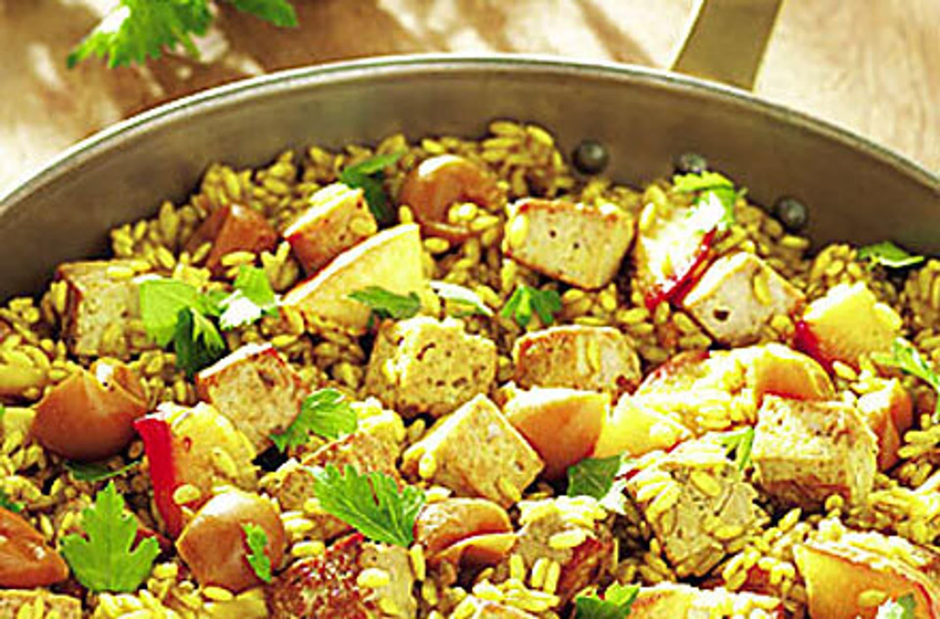 Curry reispfanne mit nektarinen und mirabellen