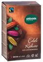 braune Kakaopackung mit bunten Kakaobohnen