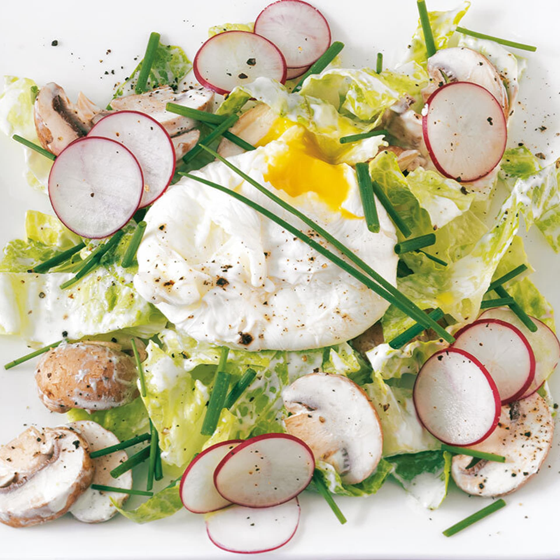 Fruehlingssalat mit pochiertem Ei