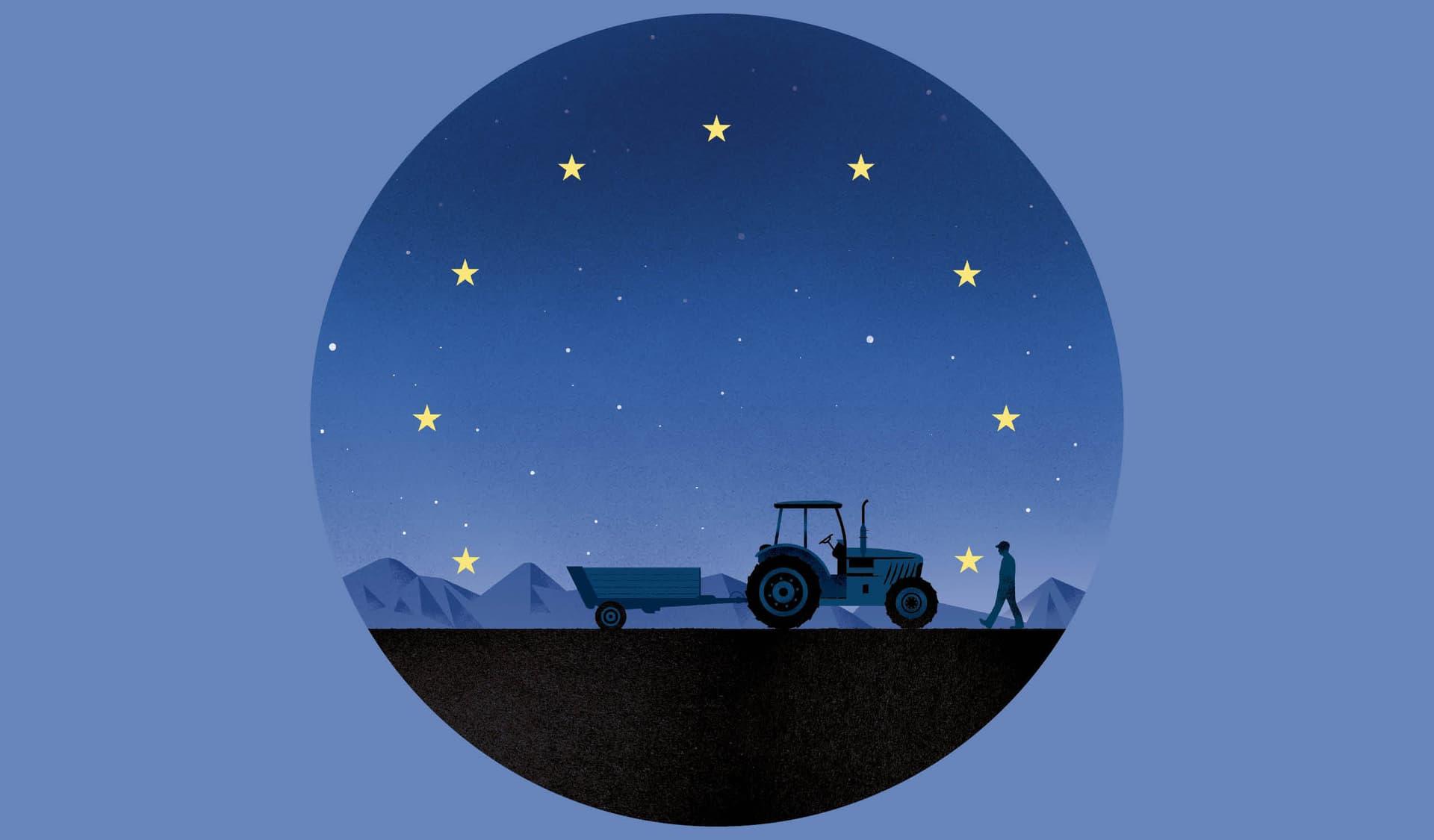 Traktor fährt vor Sternenzelt, das an die EU-Flagge erinnert.