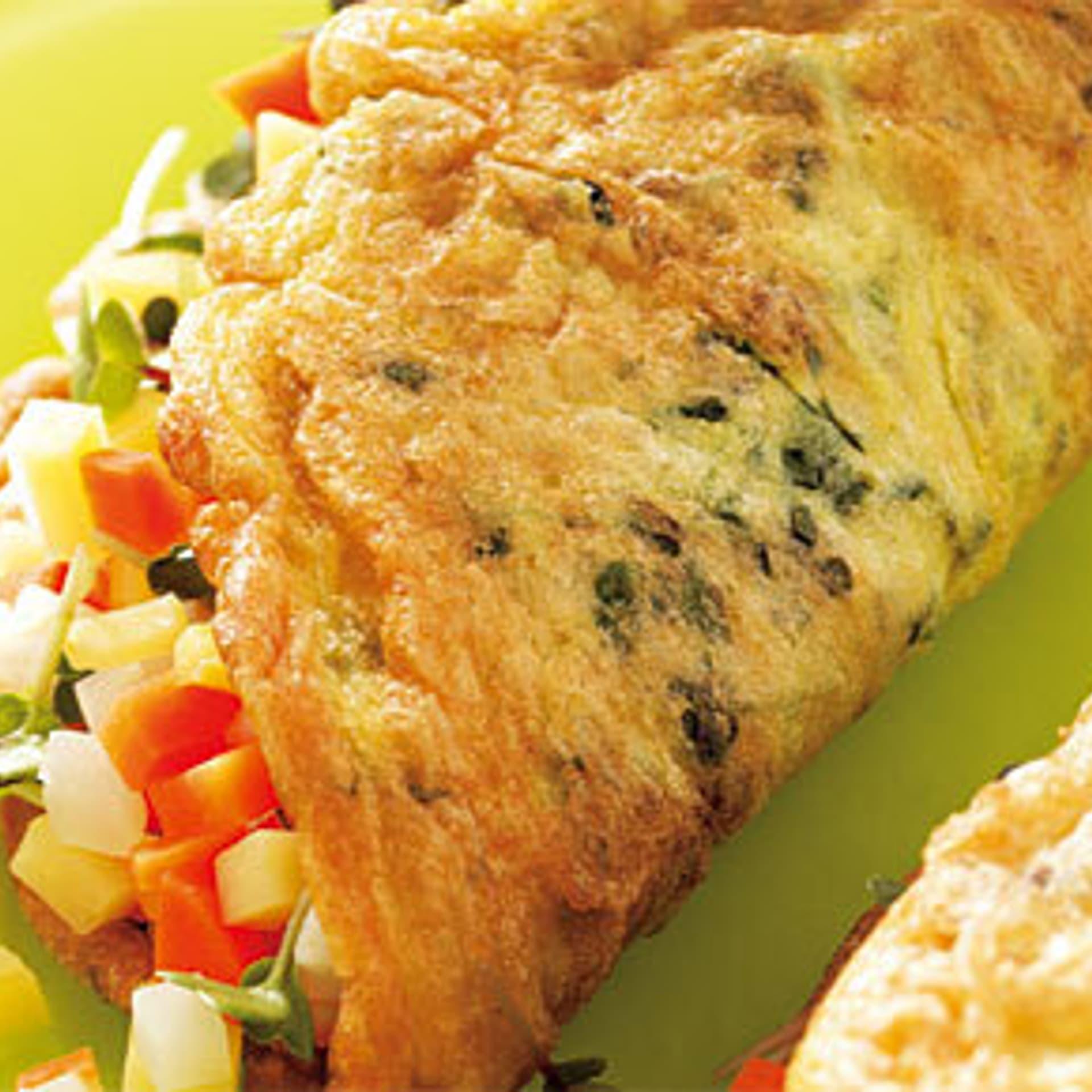 Gemuese omelette mit leinsamen