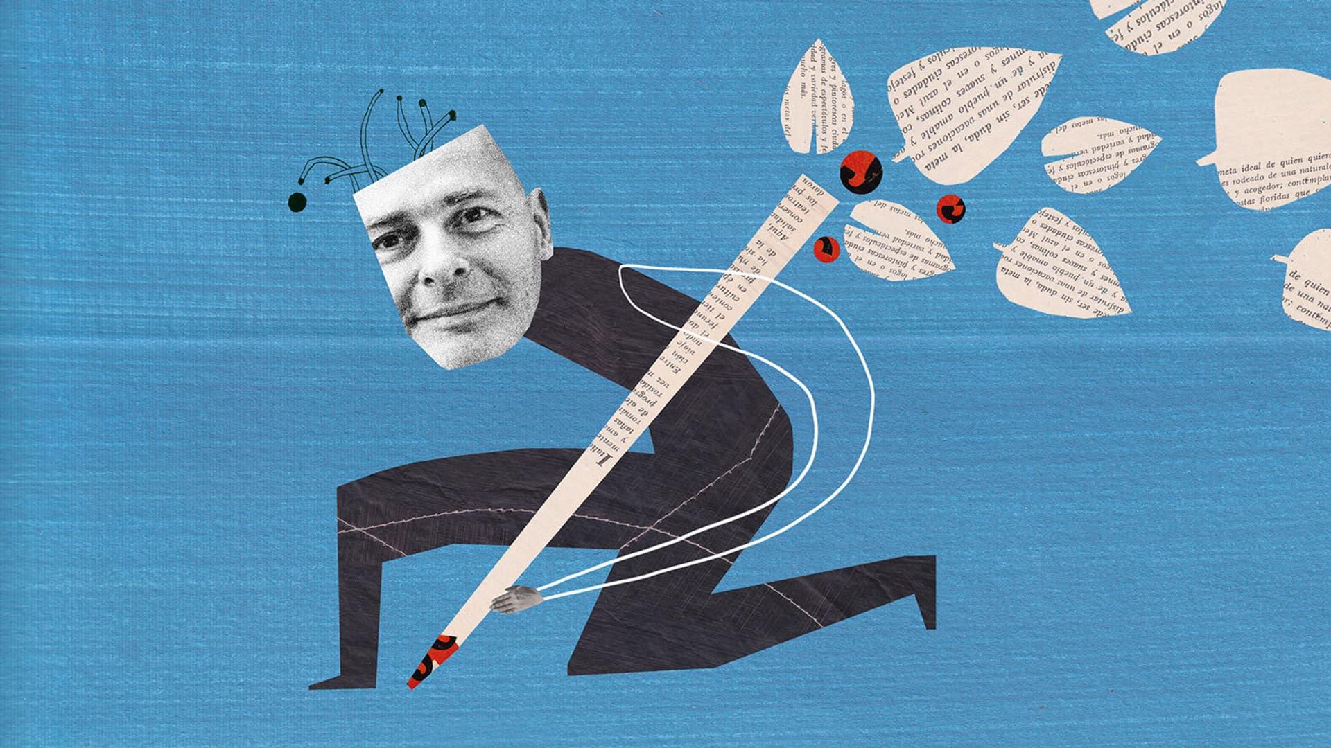 Fred Grimm mit Stift auf blauem Grund