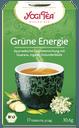 eine grasgrüne Teepackung