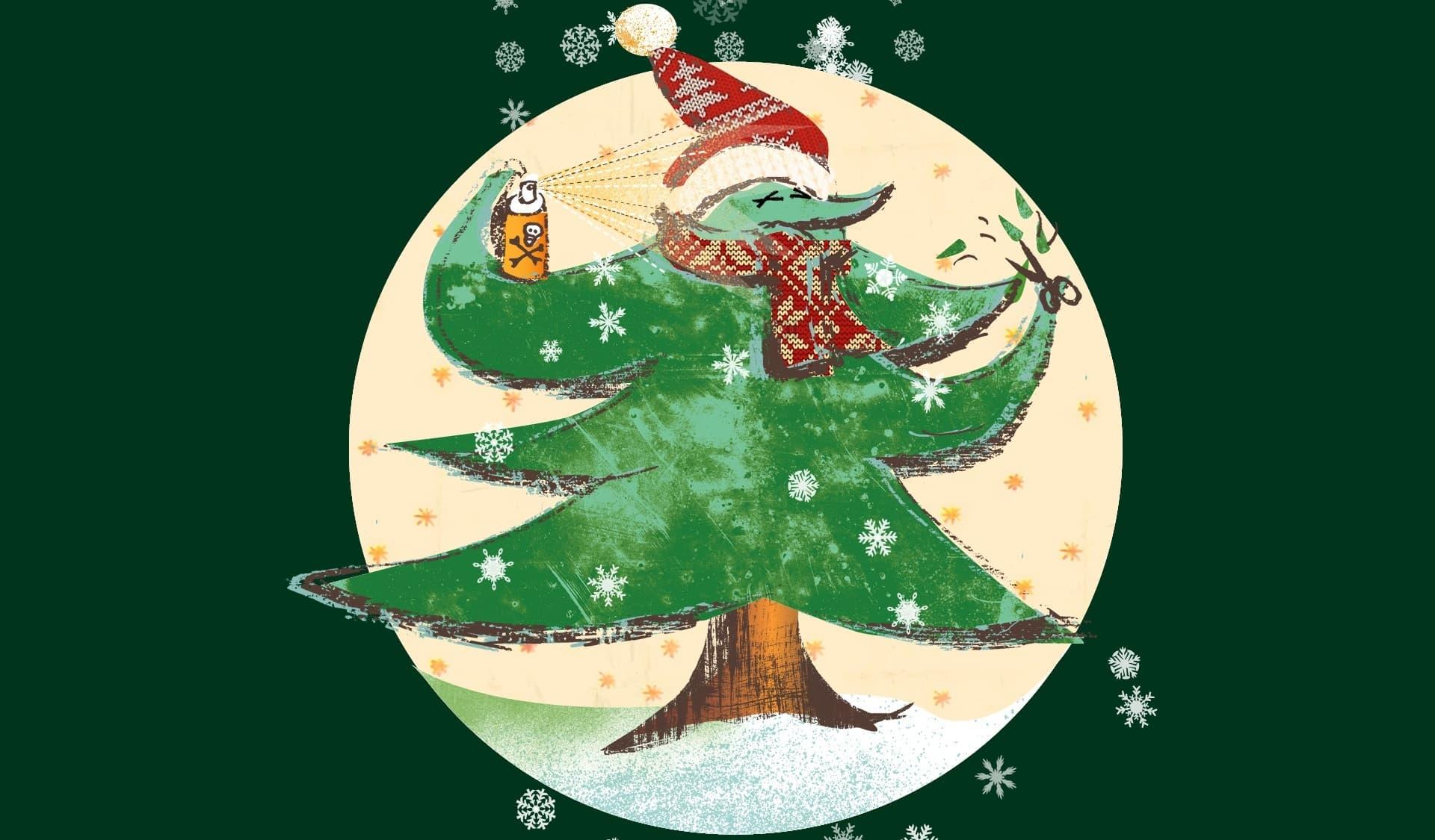 Gezeichneter Weihnachtsbaum mit Nikolausmütze