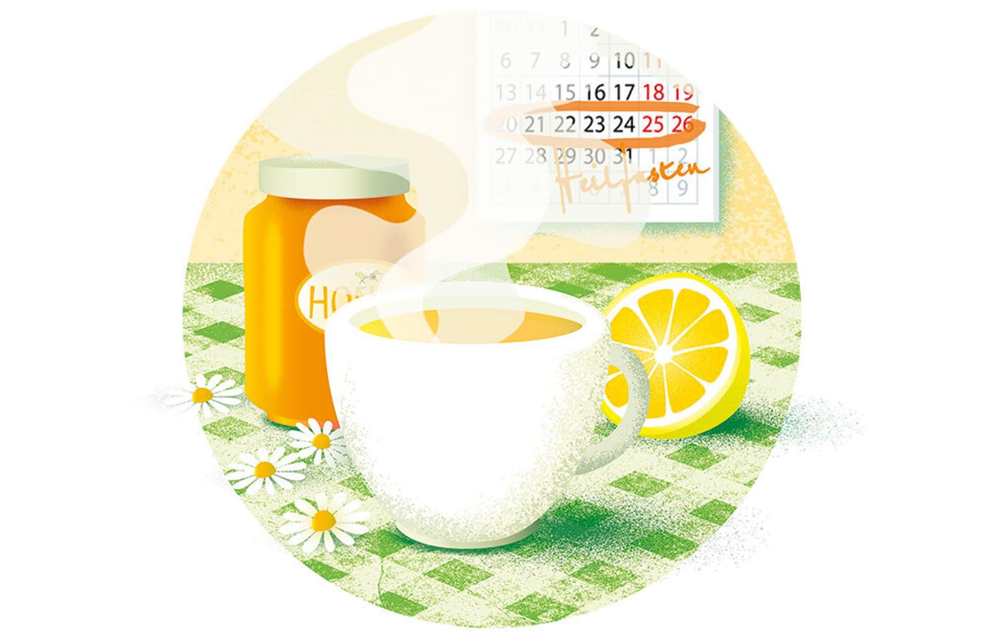 Illustration einer dampfenden Tasse Tee auf einem Küchentisch. Dahinter ein Honigtopf und eine aufgeschnittene Zitrone.