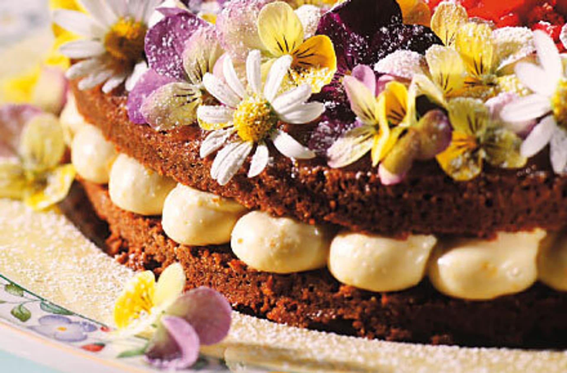 Hochzeitstorte orangentorte mit schokoladenbiskuit