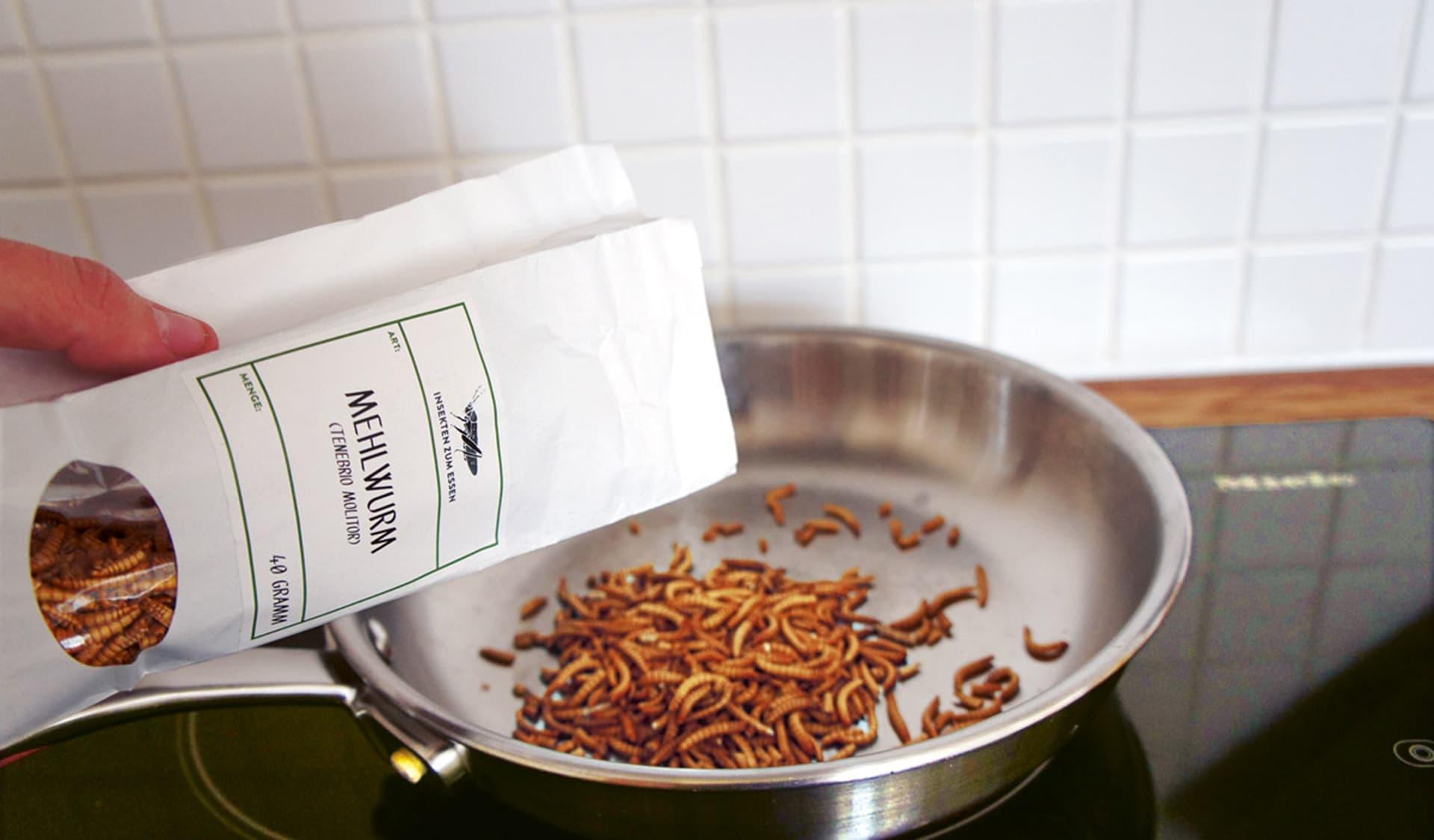 Mehlwürmer in einer Pfanne