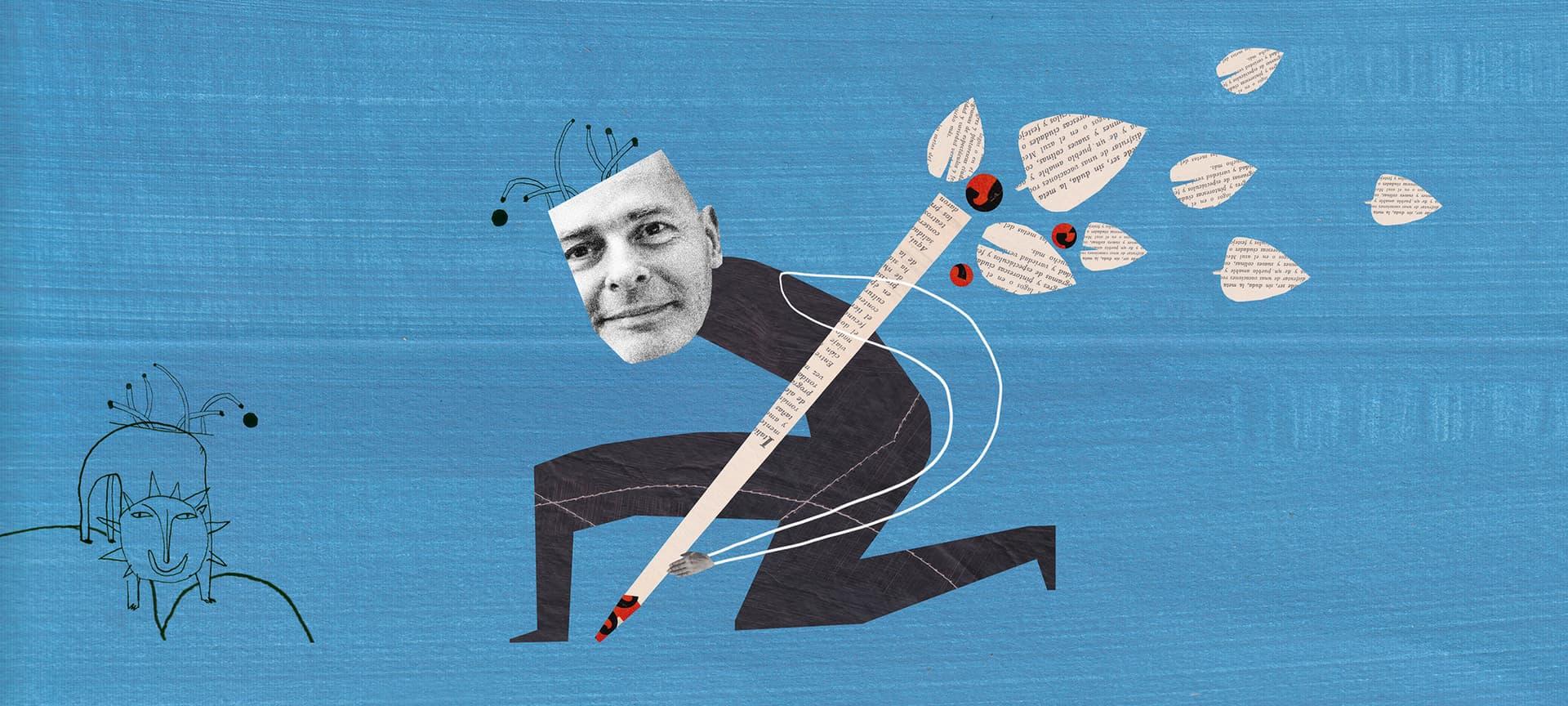 Fred mit Stift auf blauem Grund