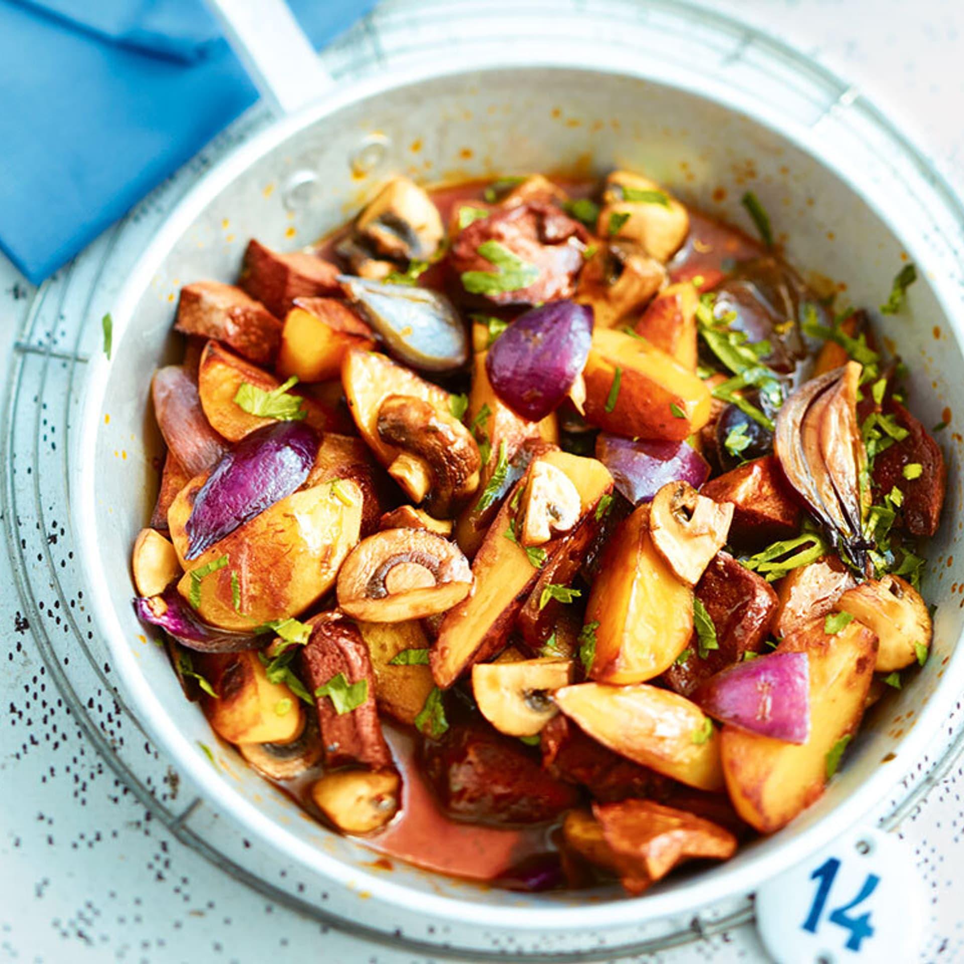 Kartoffelpfanne mit frittiertem Seitan