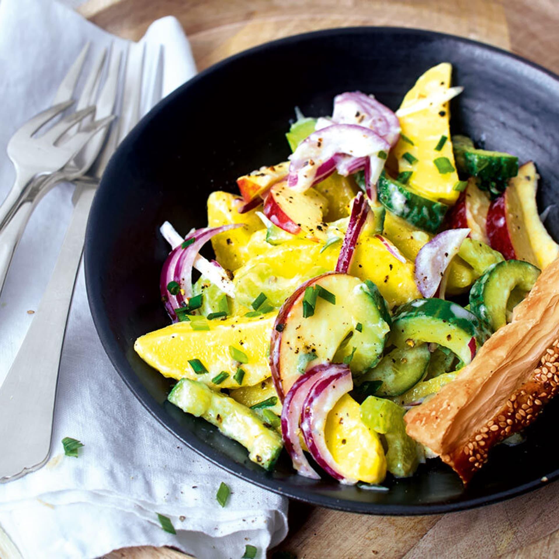 Kartoffelsalat mit Knusperstangen