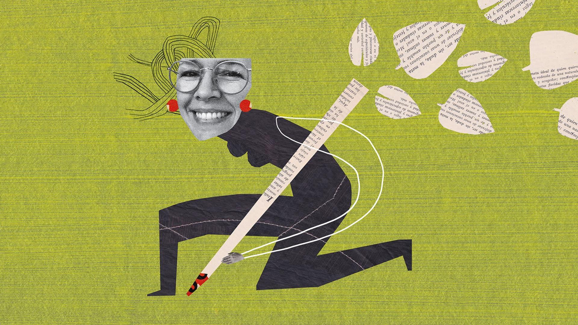 Jutta Kochs Kopf auf einem gezeichneten Körper, der einen riesigen Stift in der Hand hält, aus dem Blätter fliegen