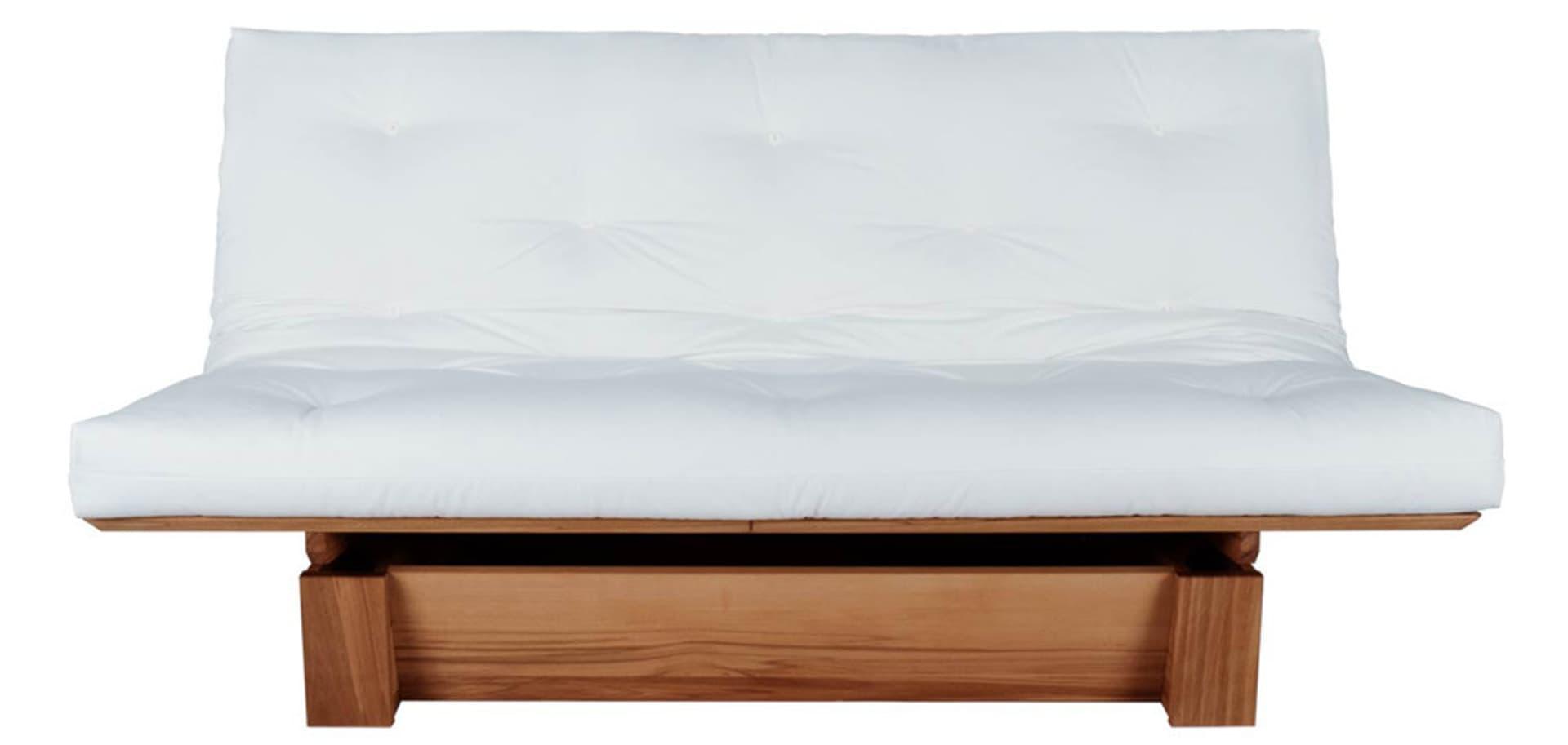 weißes Futon-Sofa auf Holzgestell