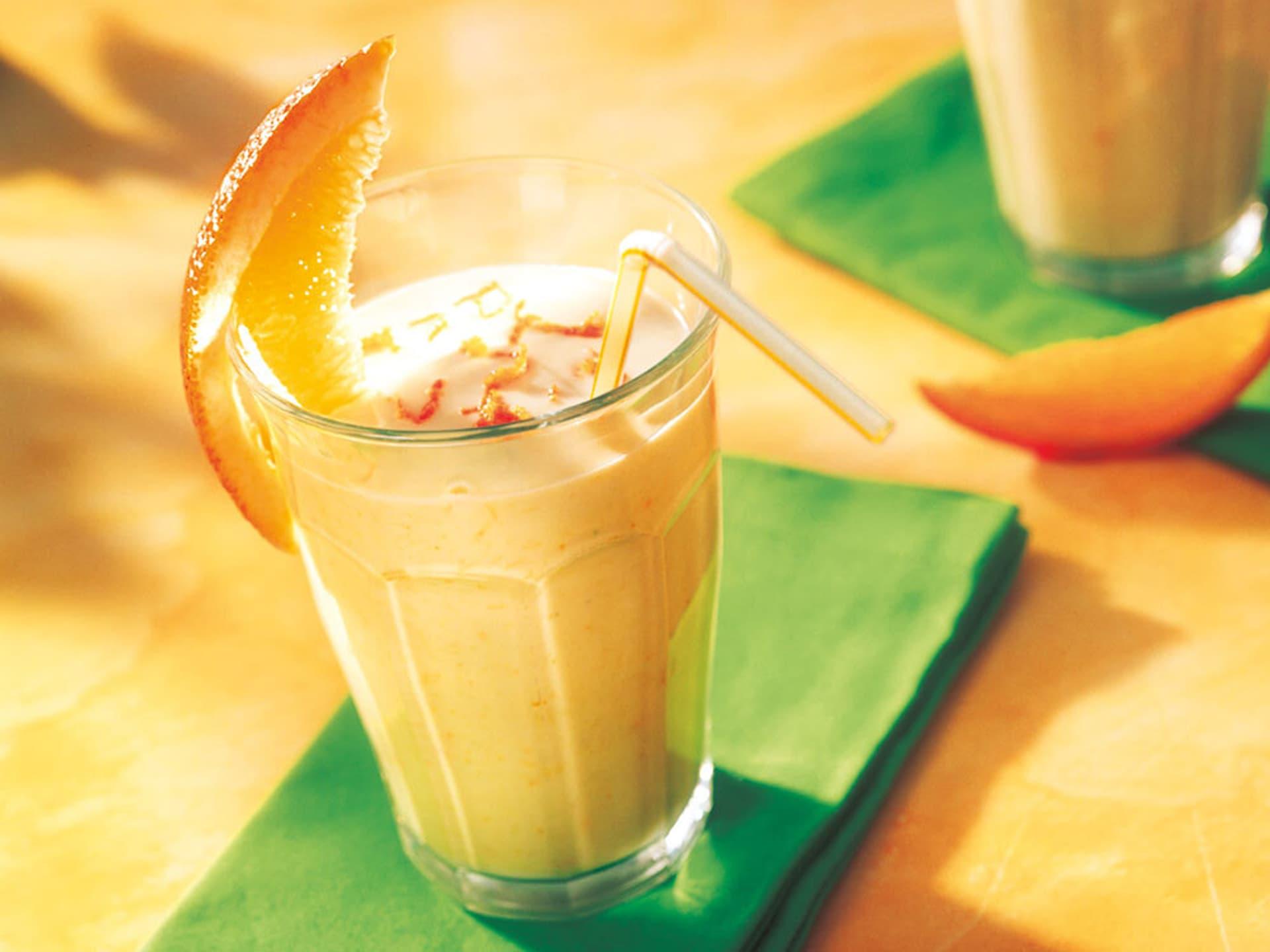 Orangen avocado shake mit buttermilch