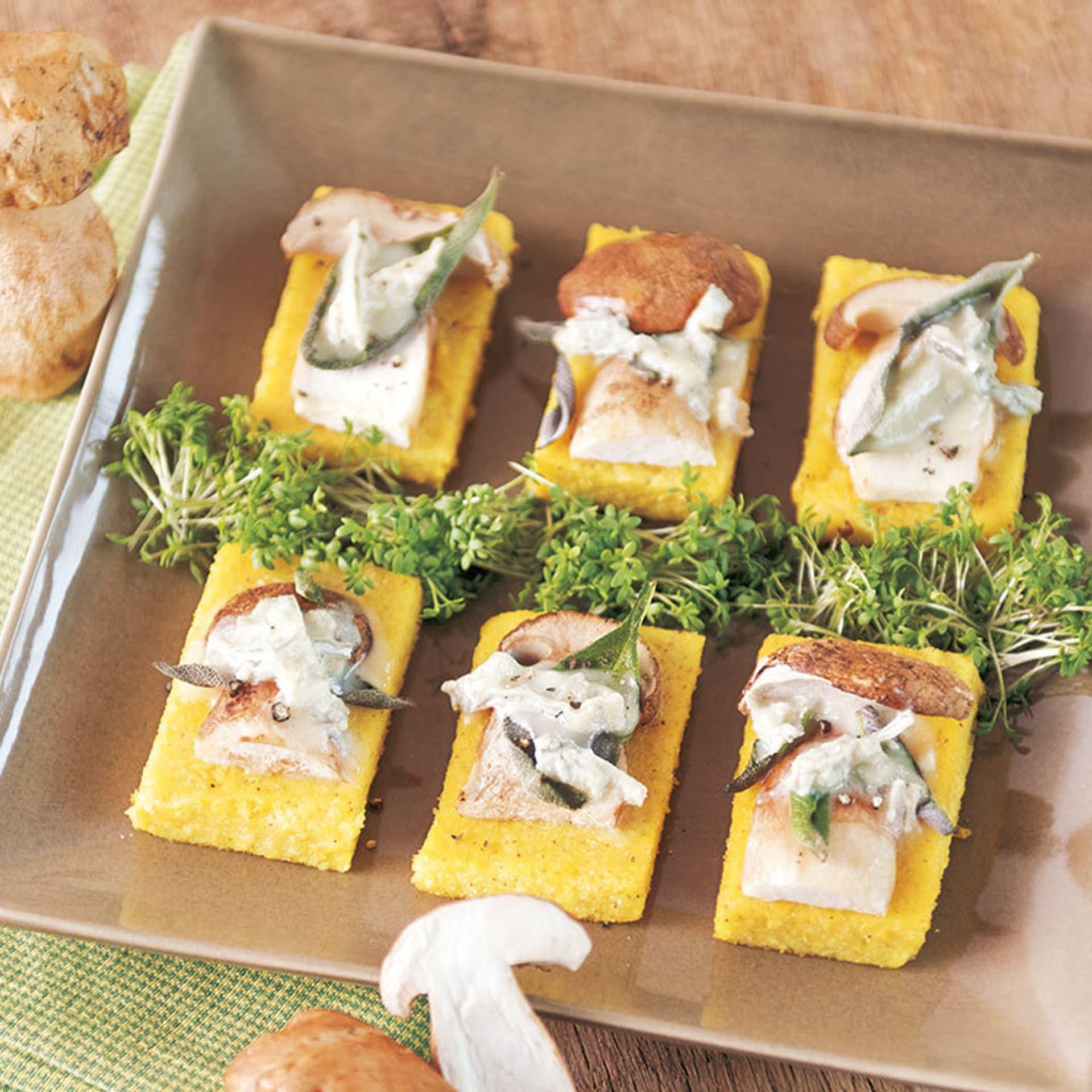 Polenta mit pilzen und gorgonzola
