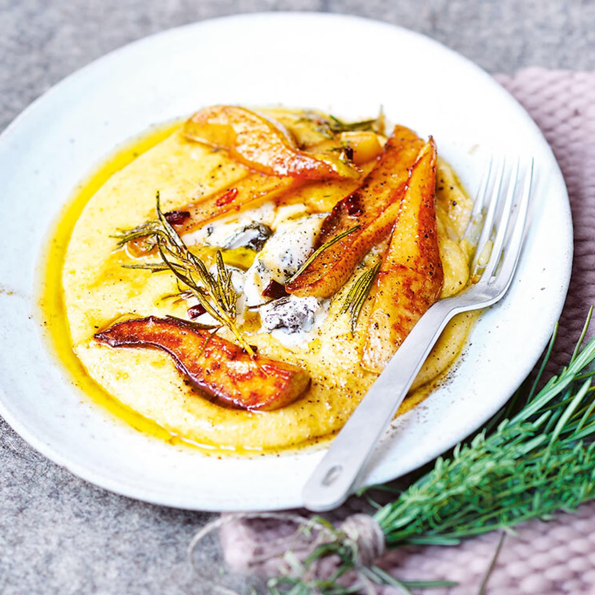 Polenta mit Roquefort und Birnen