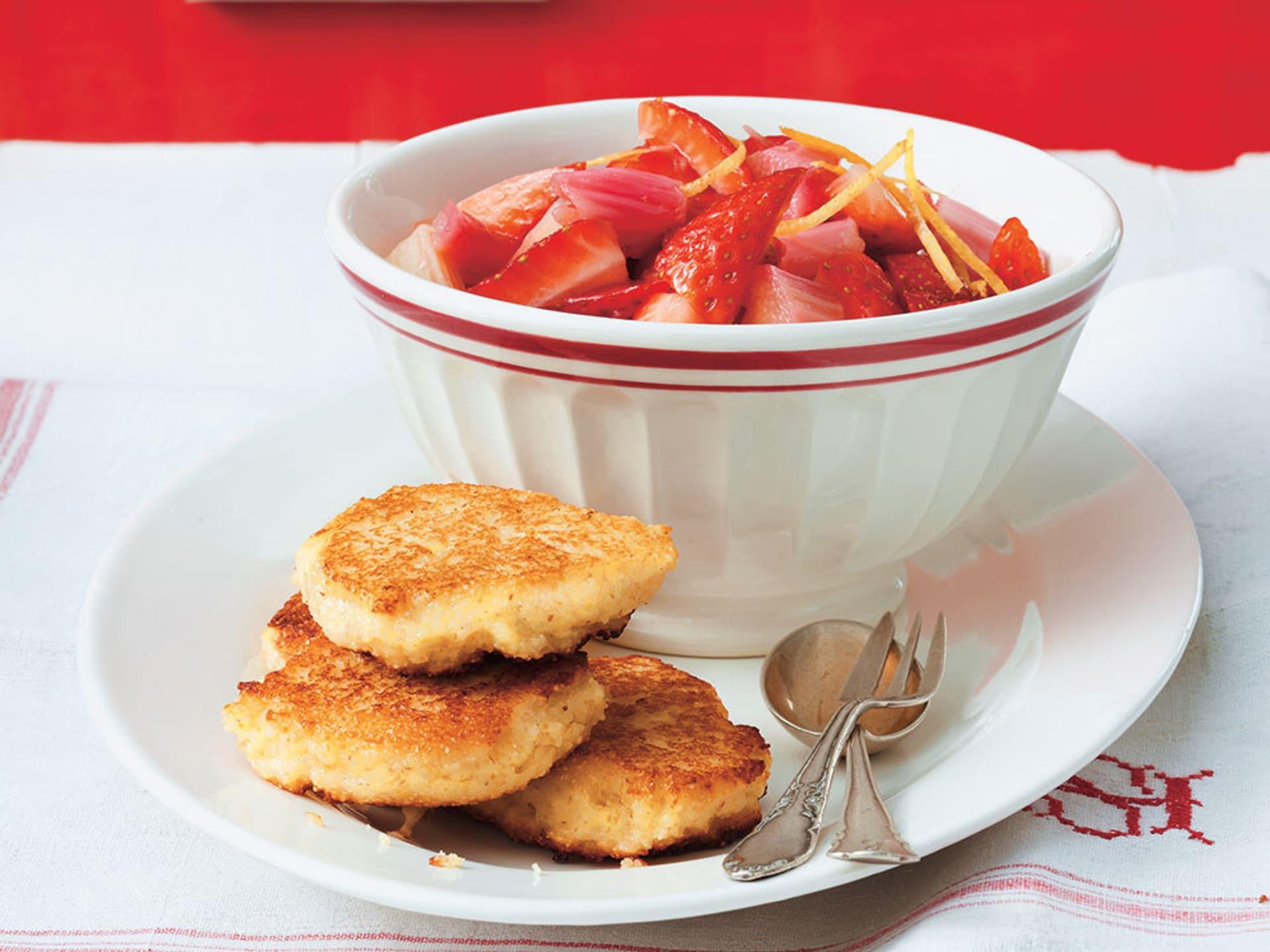 Quarkplaetzchen mit Erdbeersalat