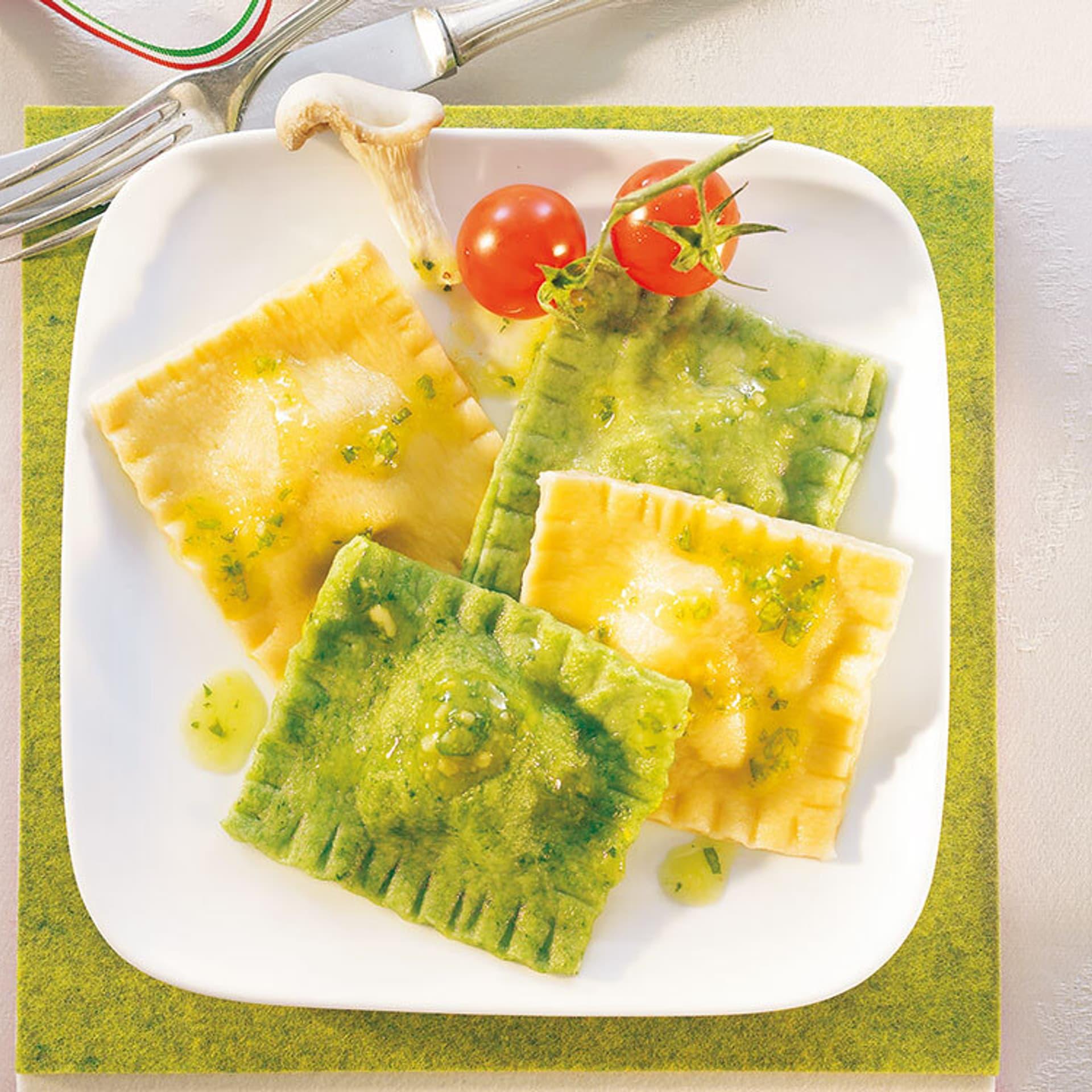 ravioli grün und weiß