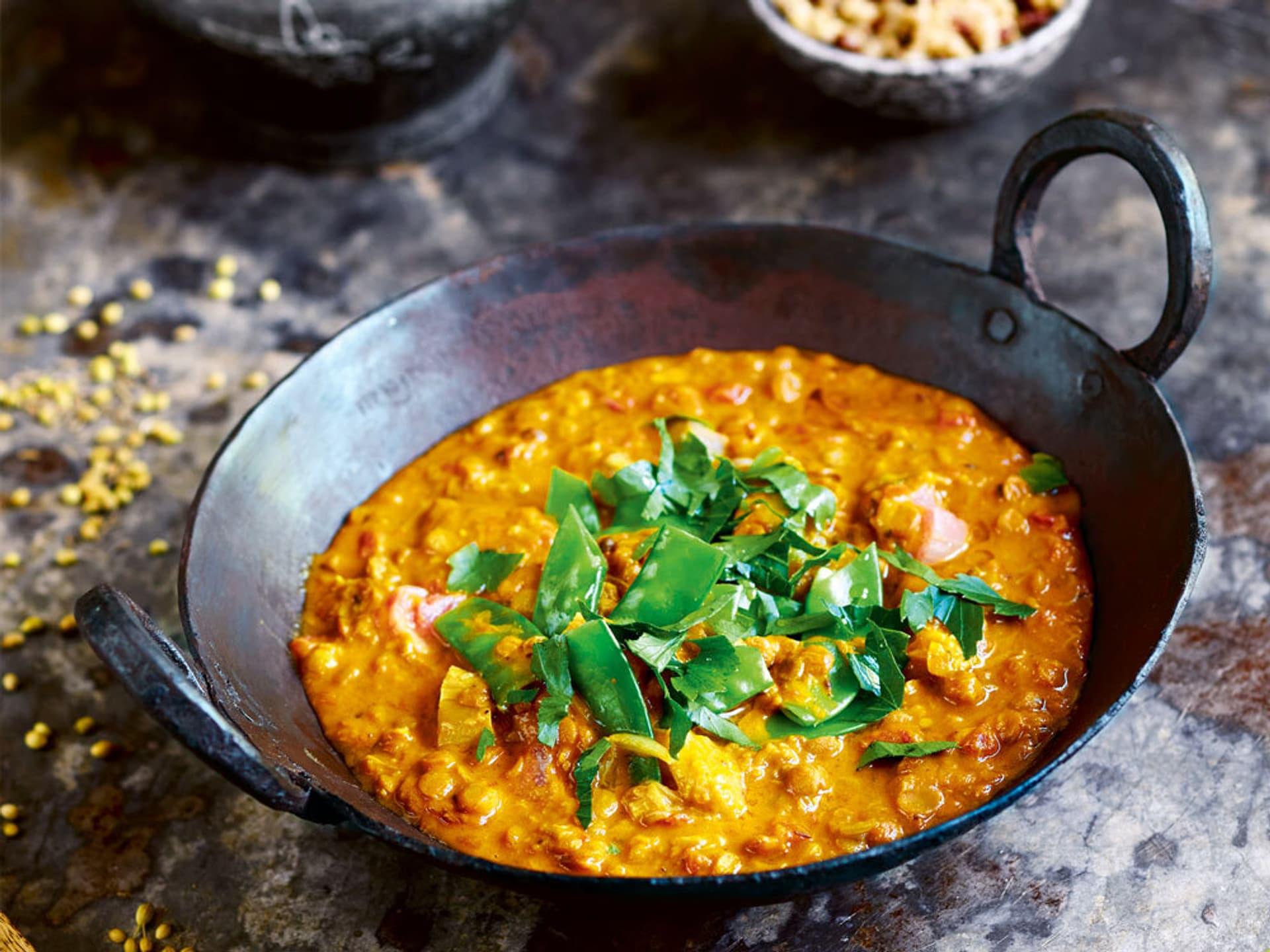 Rhabarber linsen curry mit wildreis