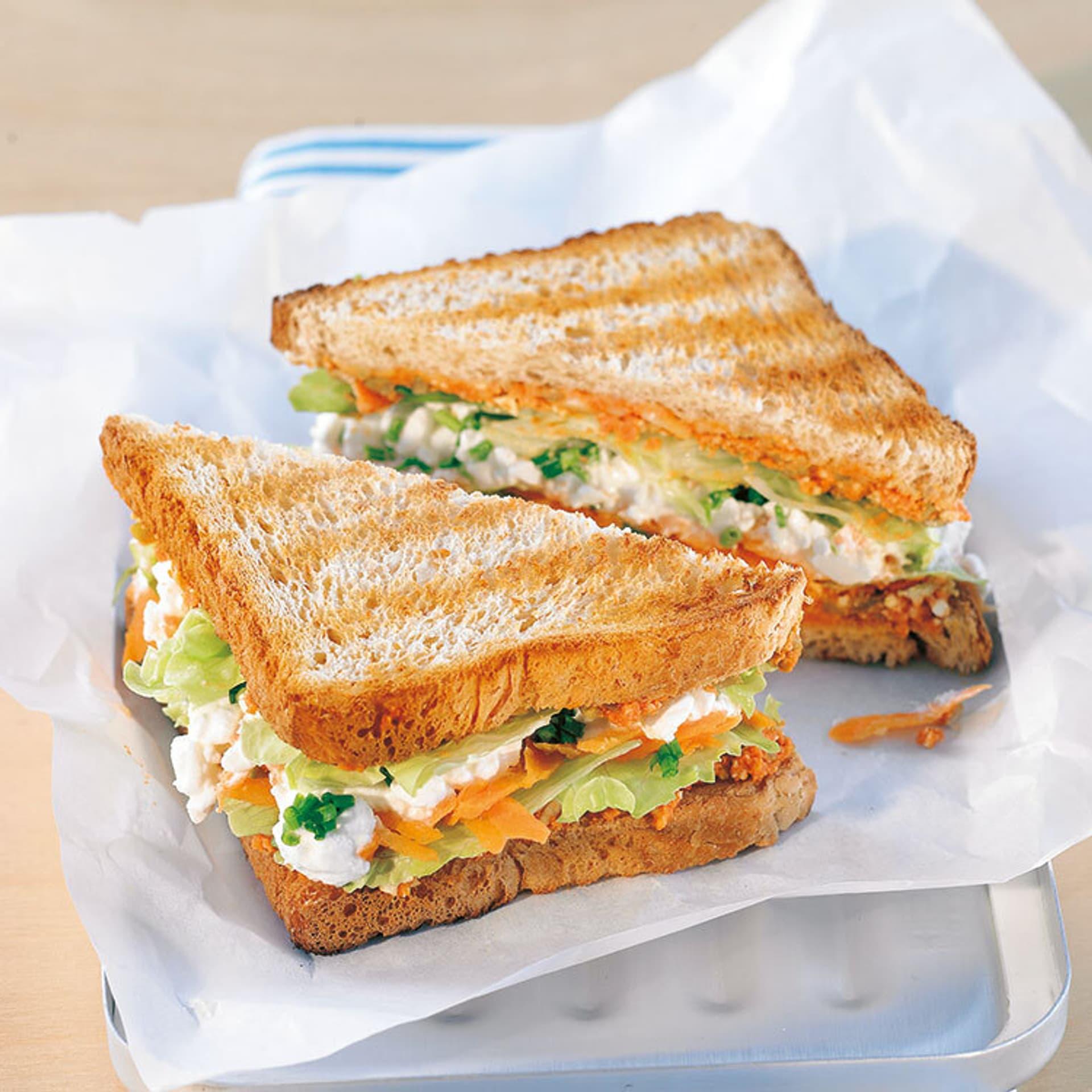 Frisches rohkost sandwich