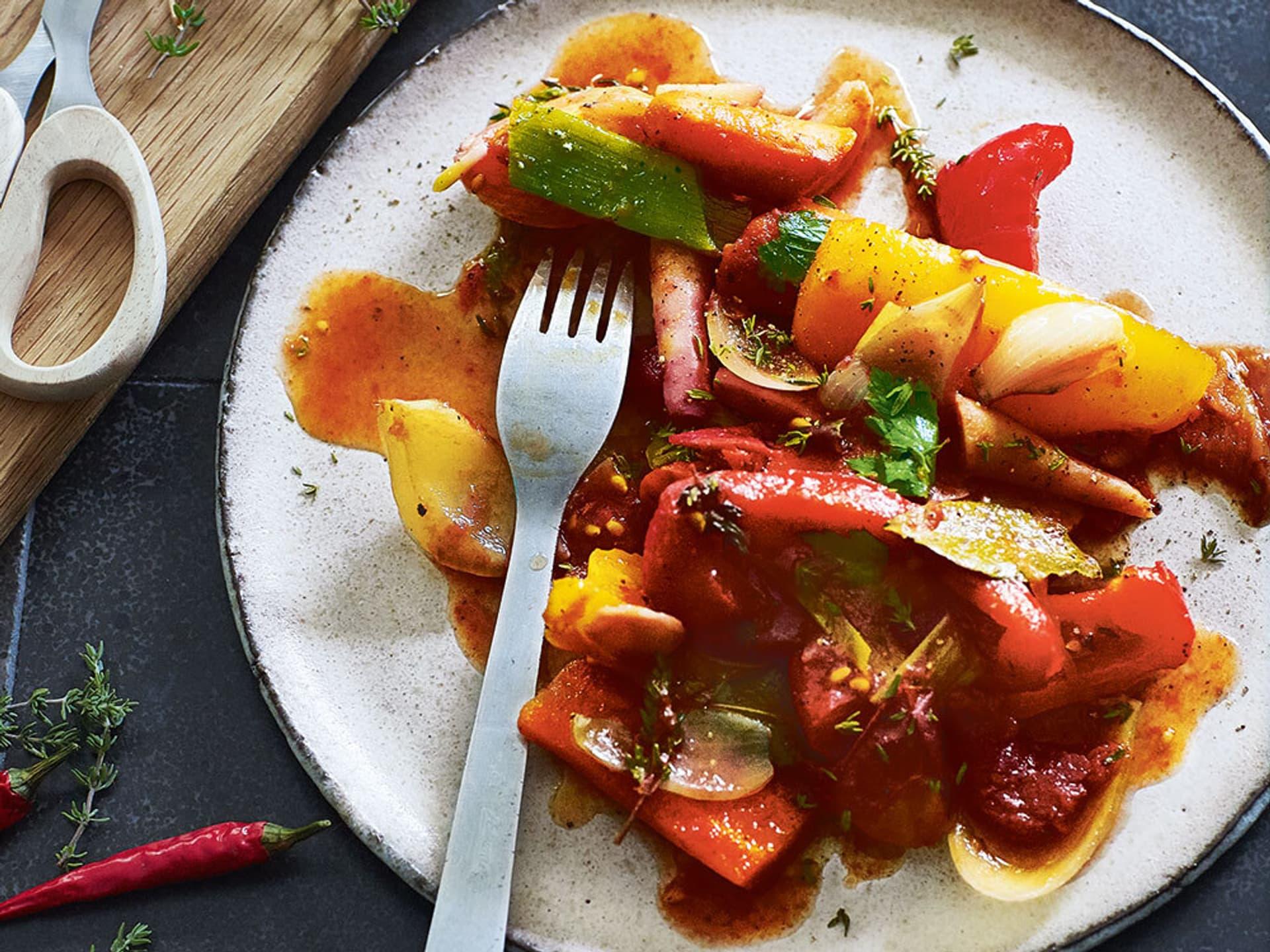 Schmorgemüse mit rotwein